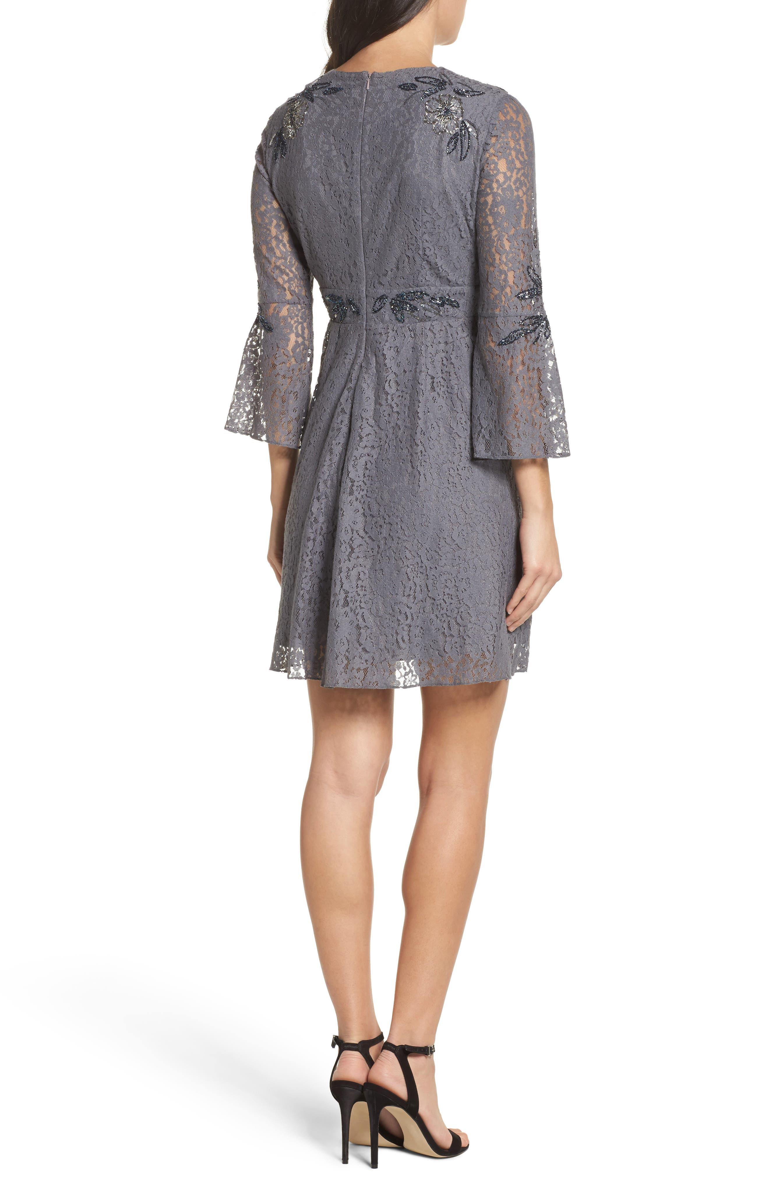 Esme Shimmer Beaded Lace Dress,                             Alternate thumbnail 2, color,                             Smokey