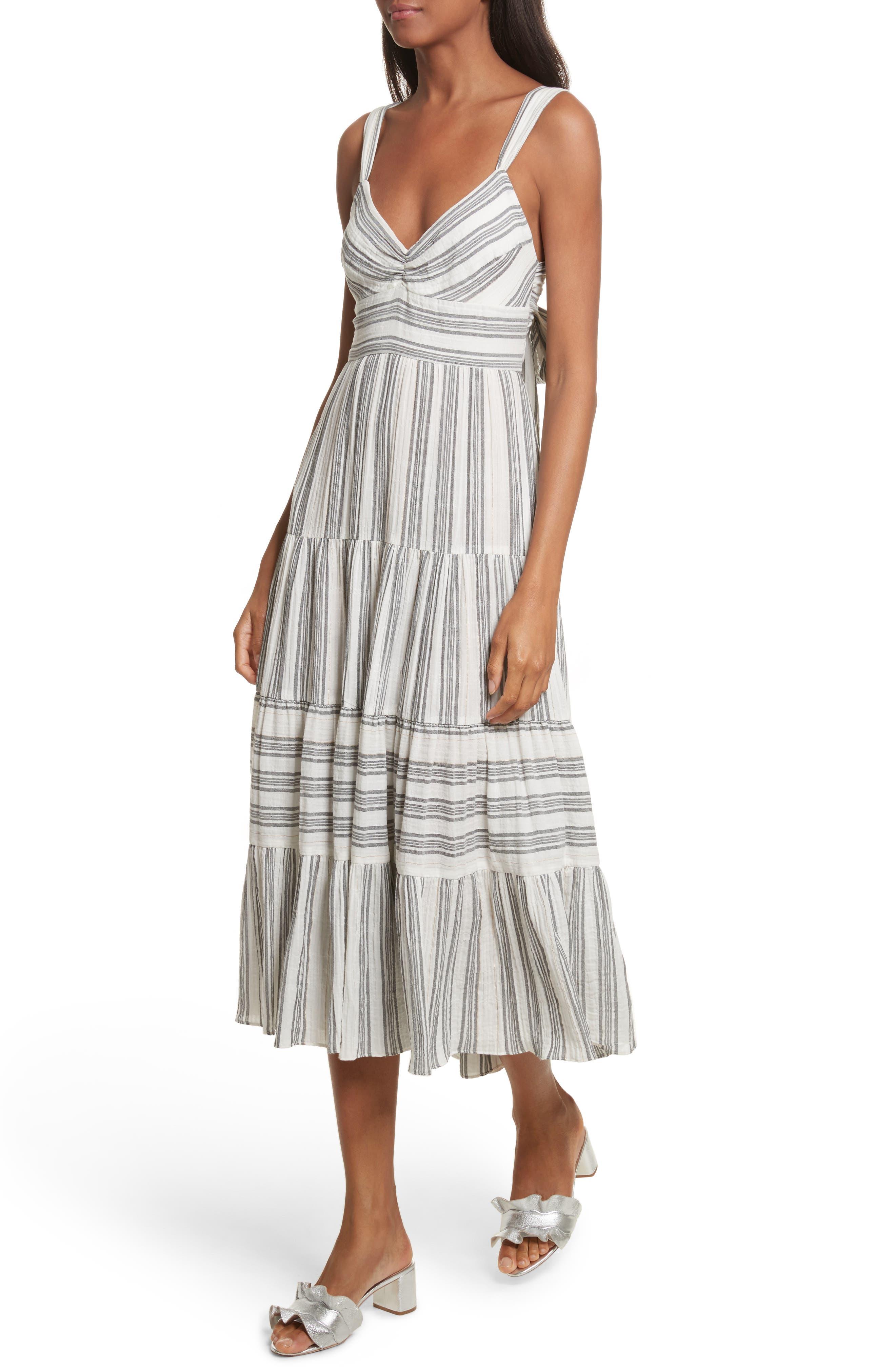 Sleeveless Gauzy Stripe Dress,                             Alternate thumbnail 4, color,                             Milk/ Washed Black Combo