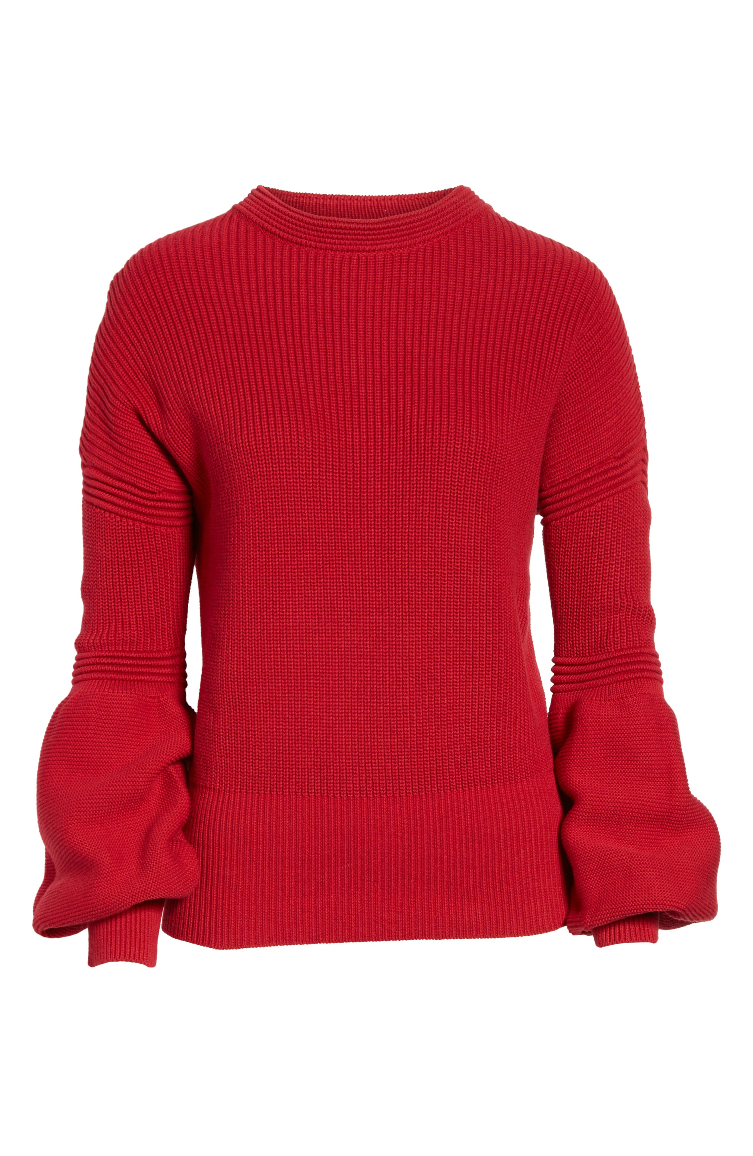 Sculpture Puff Sleeve Sweater,                             Alternate thumbnail 6, color,                             Red