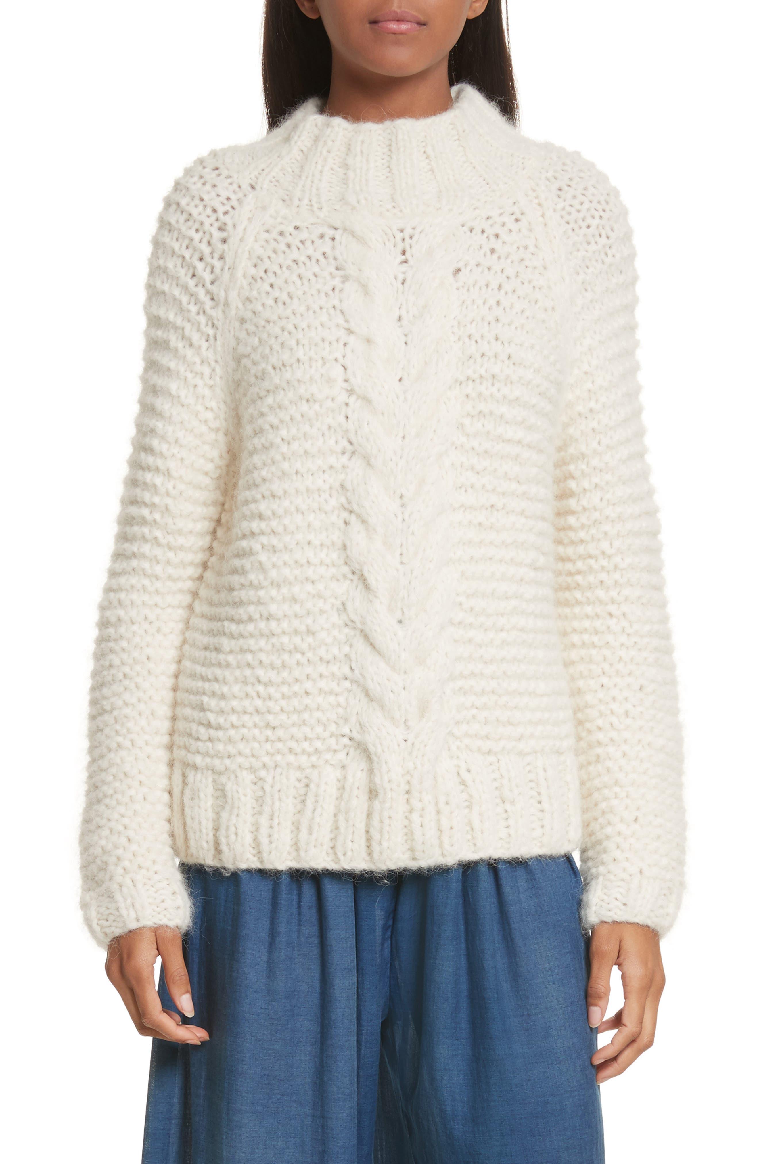 Cable Knit Pullover,                         Main,                         color, Cream