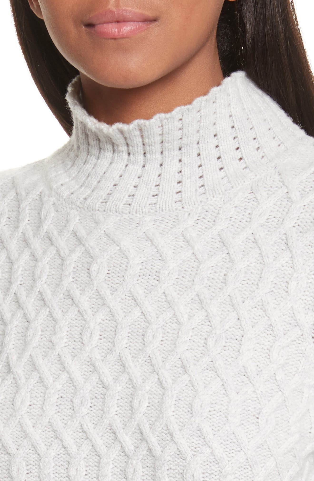 Braided Cable Mock Neck Pullover,                             Alternate thumbnail 4, color,                             Light Heather Grey