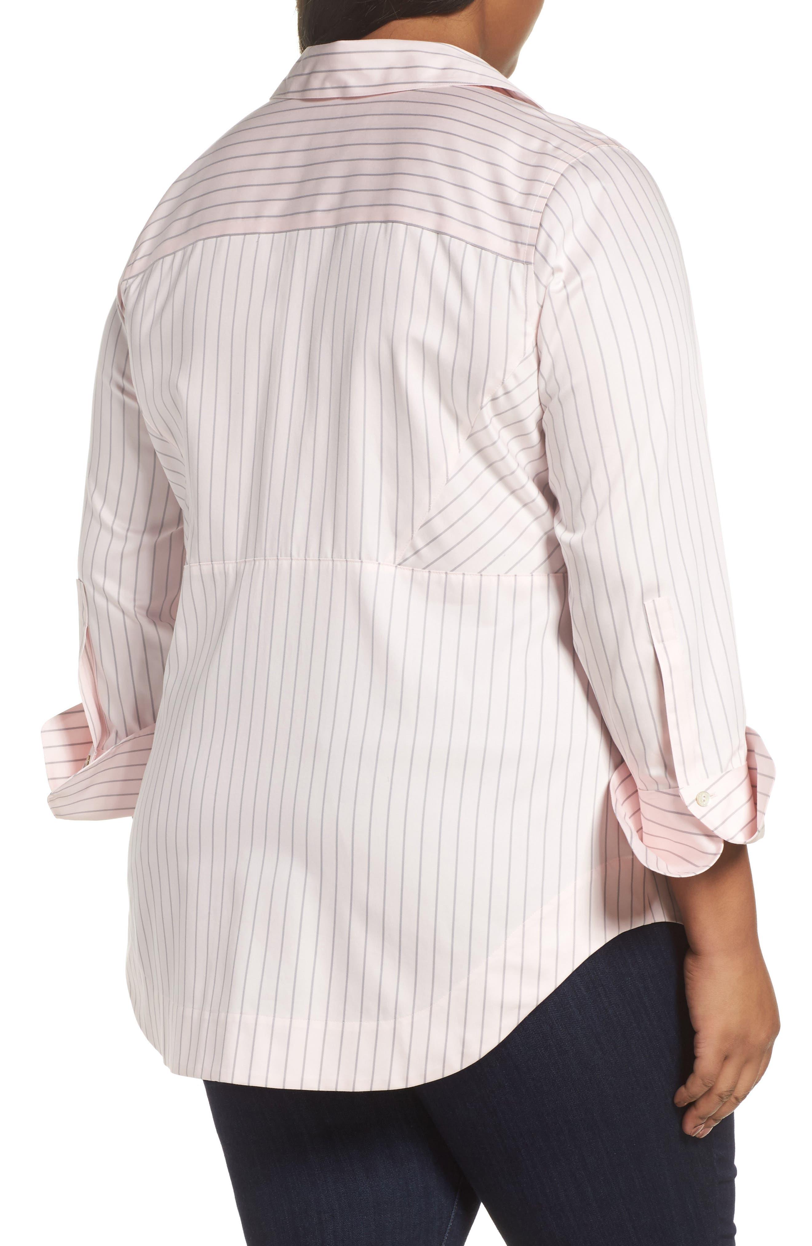 Alternate Image 2  - Foxcroft Patrice Classic Stripe Shirt (Plus Size)