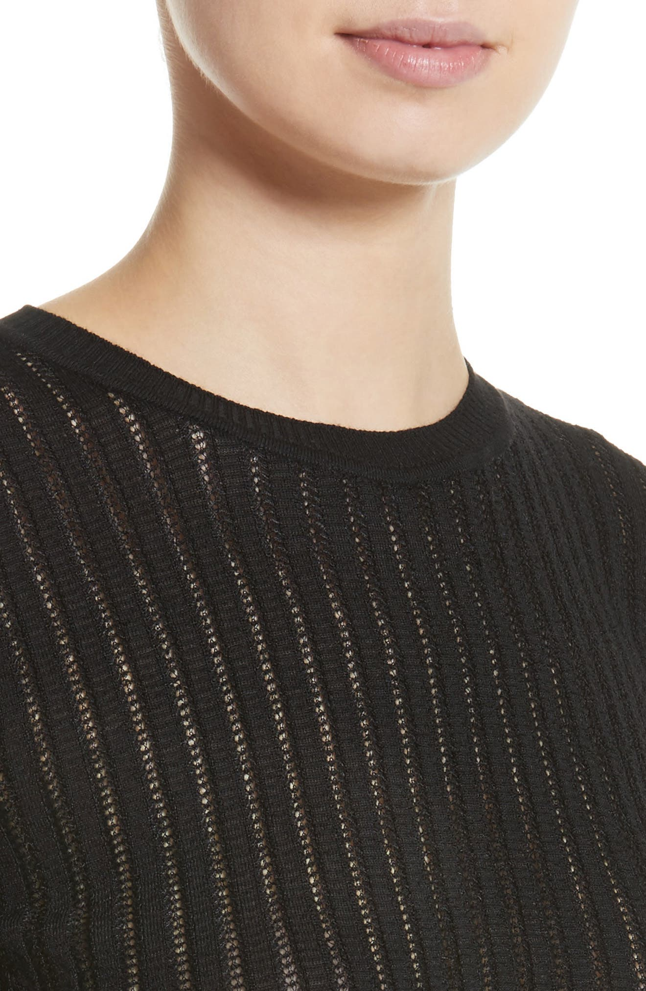 Knit Wool Blend Sweater,                             Alternate thumbnail 4, color,                             Black