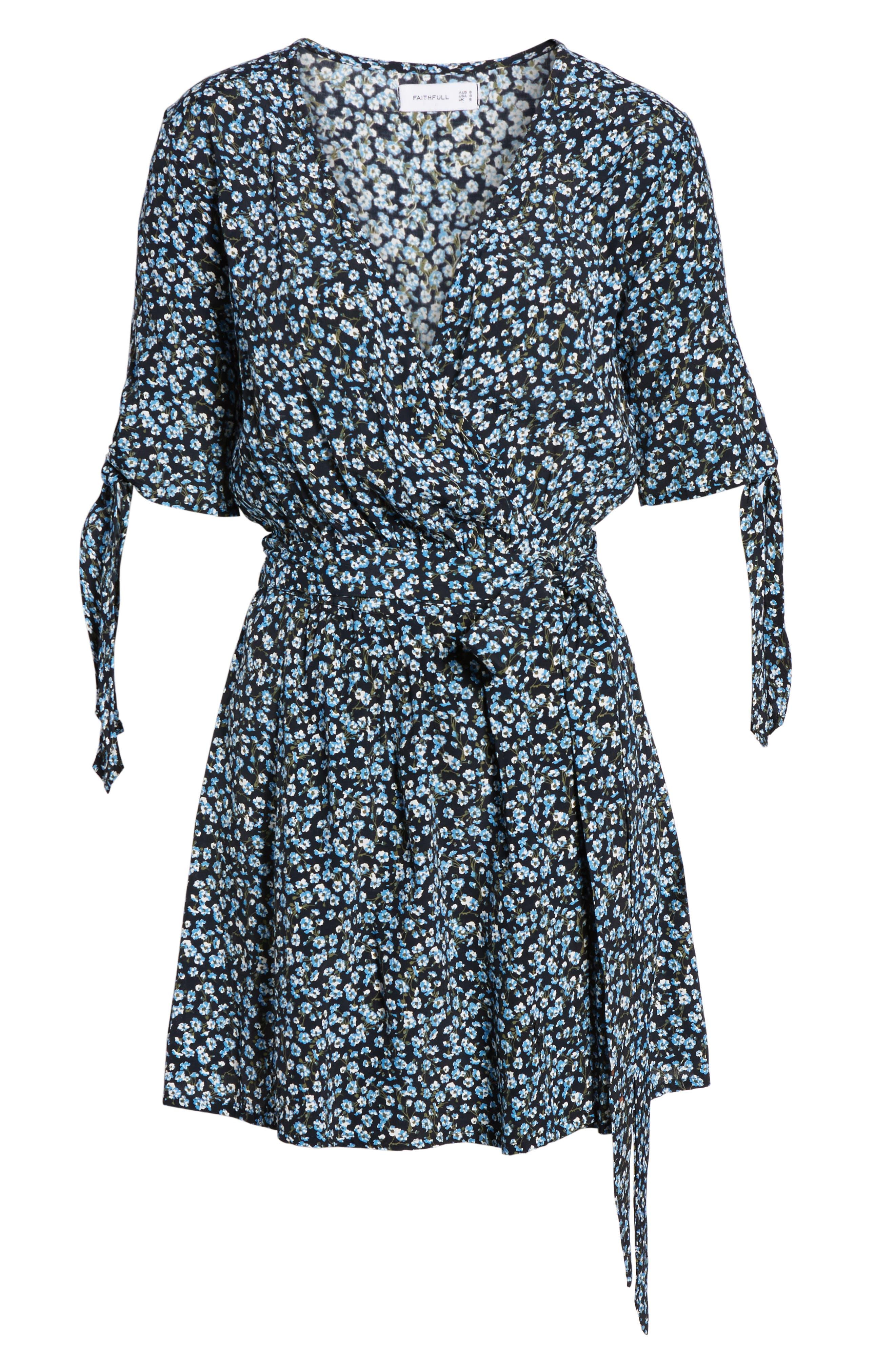 Oslo Floral Wrap Dress,                             Alternate thumbnail 6, color,                             Blossom Village Print - Blue
