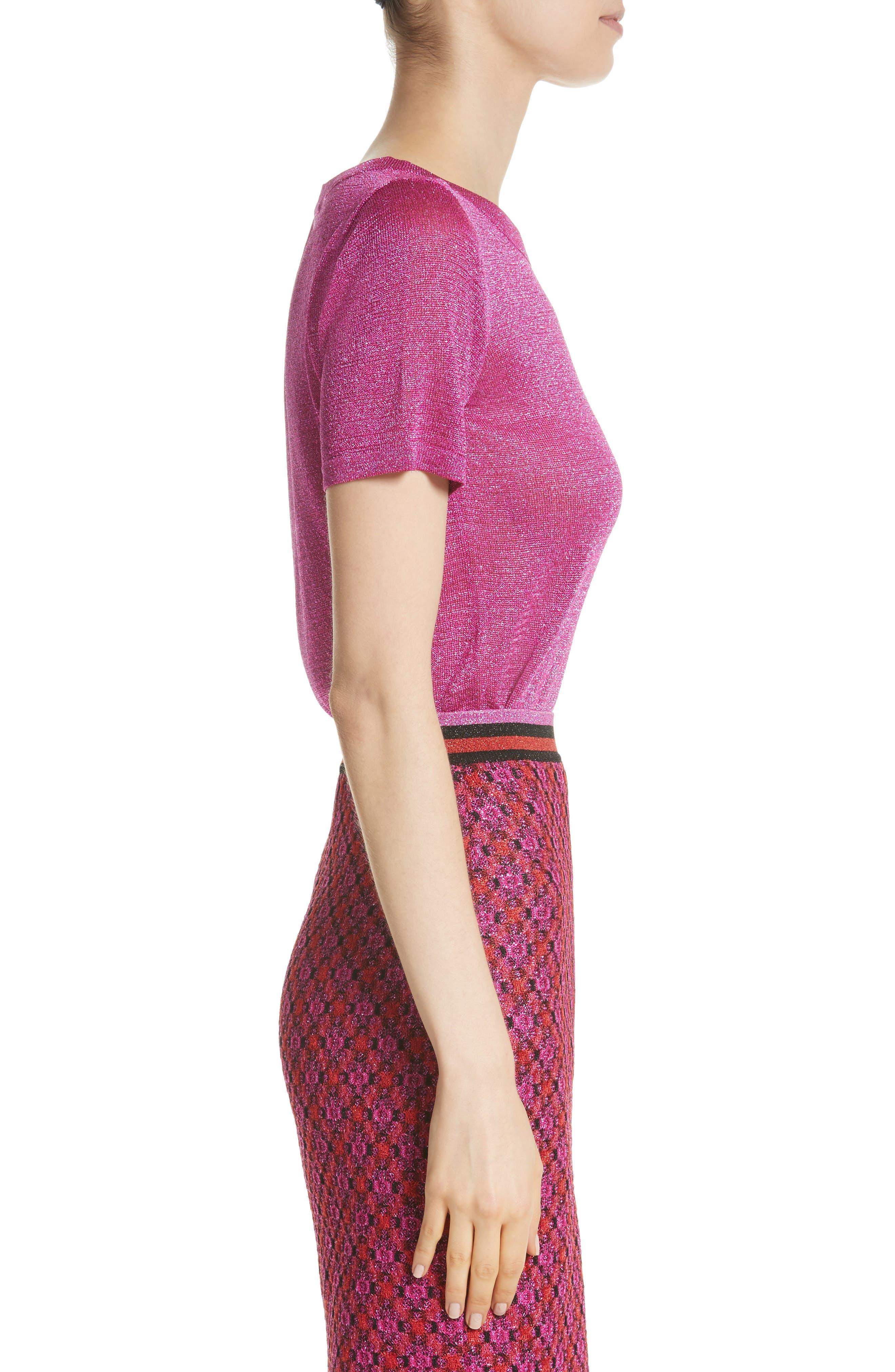 Metallic Knit Tee,                             Alternate thumbnail 3, color,                             Pink