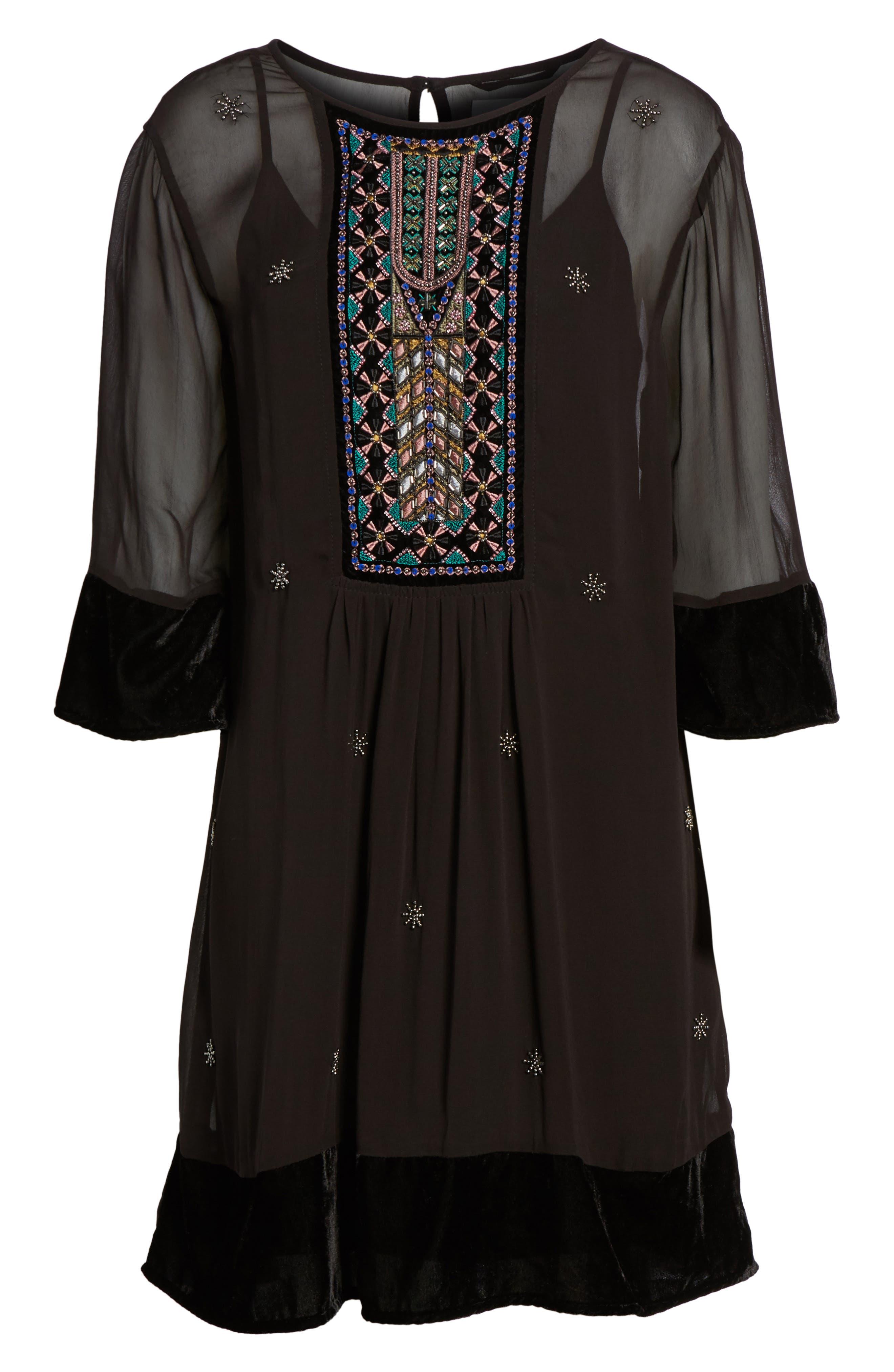 Beaded Velvet Georgette Dress,                             Alternate thumbnail 6, color,                             Black
