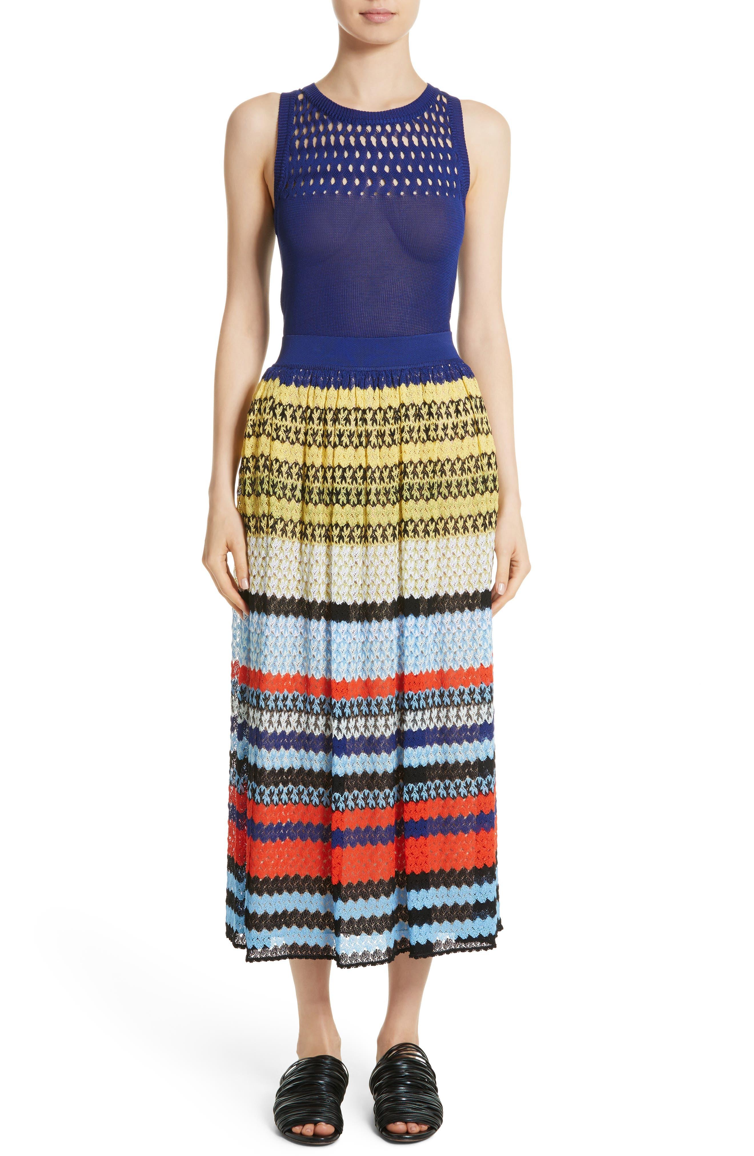 Stripe Knit Midi Skirt,                             Alternate thumbnail 7, color,                             Multi
