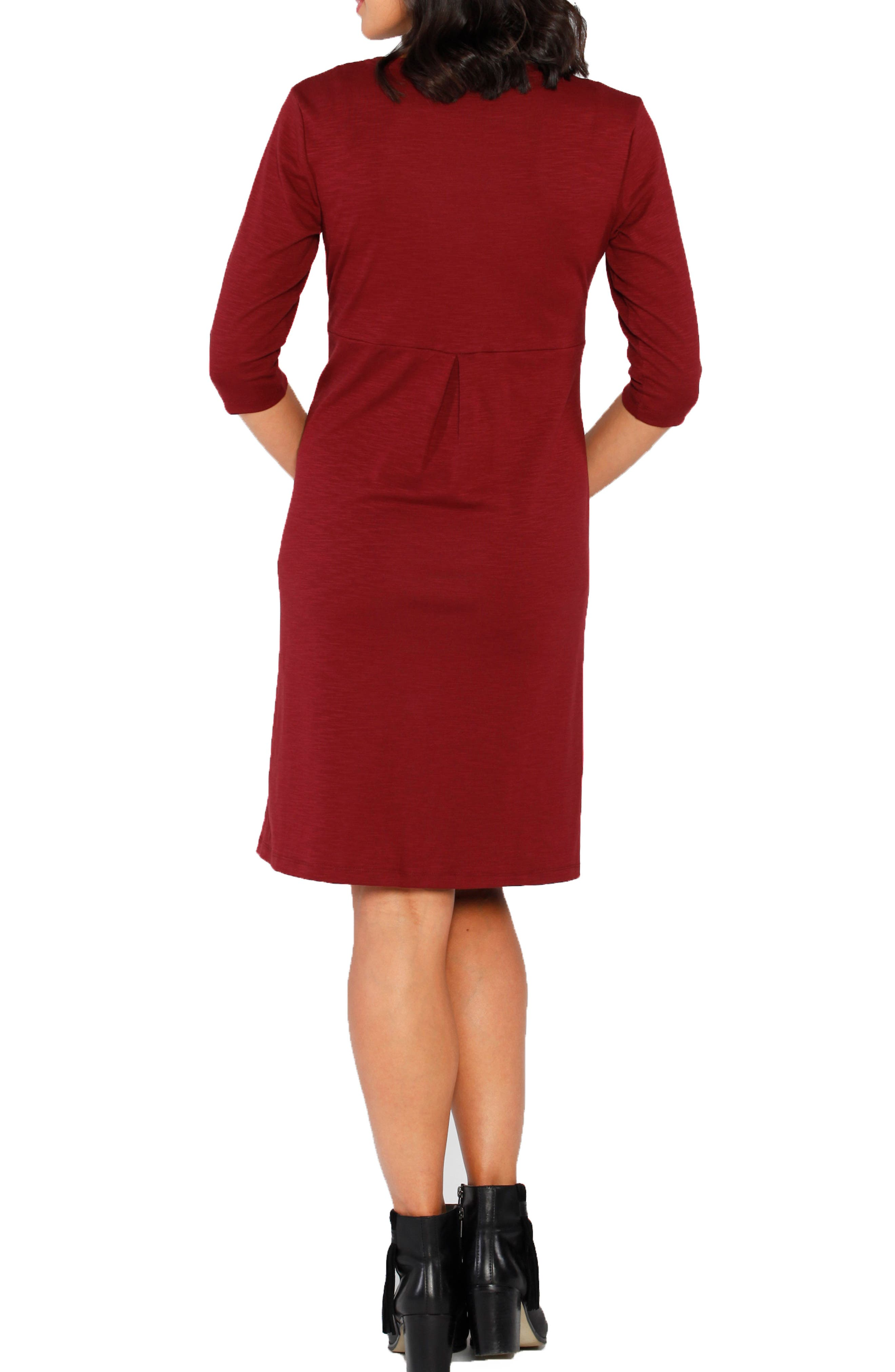 Stretch Jersey Maternity Dress,                             Alternate thumbnail 2, color,                             Earth Red