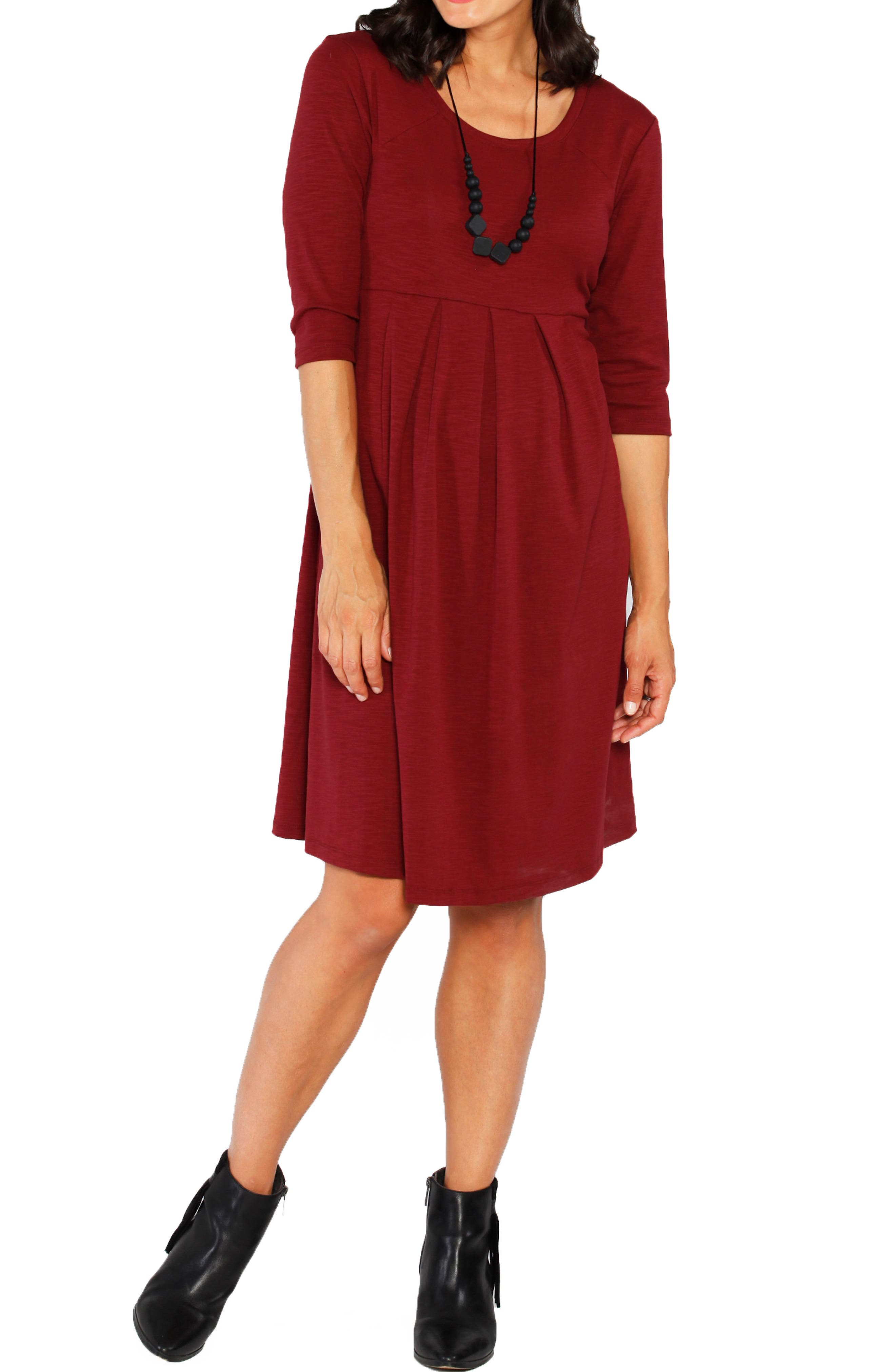 Stretch Jersey Maternity Dress,                         Main,                         color, Earth Red