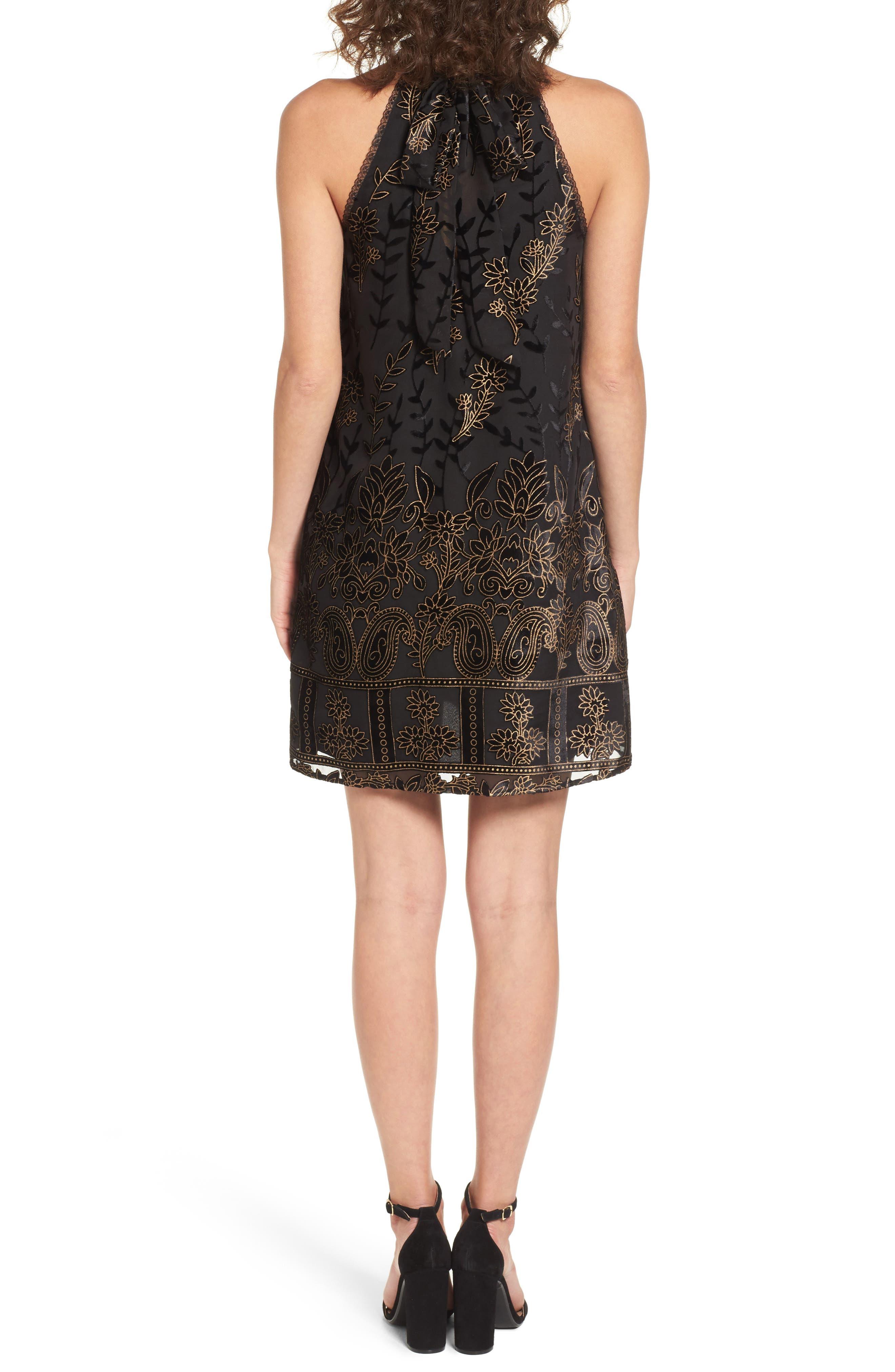Merci Halter Dress,                             Alternate thumbnail 2, color,                             Black
