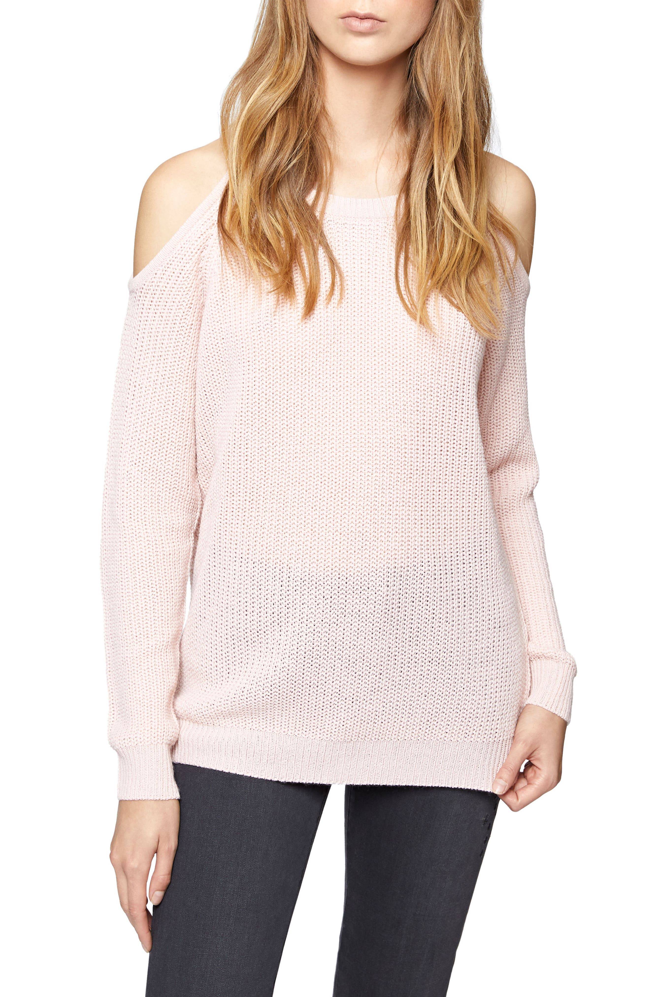Riley Cold Shoulder Sweater,                         Main,                         color, Celestial Pink