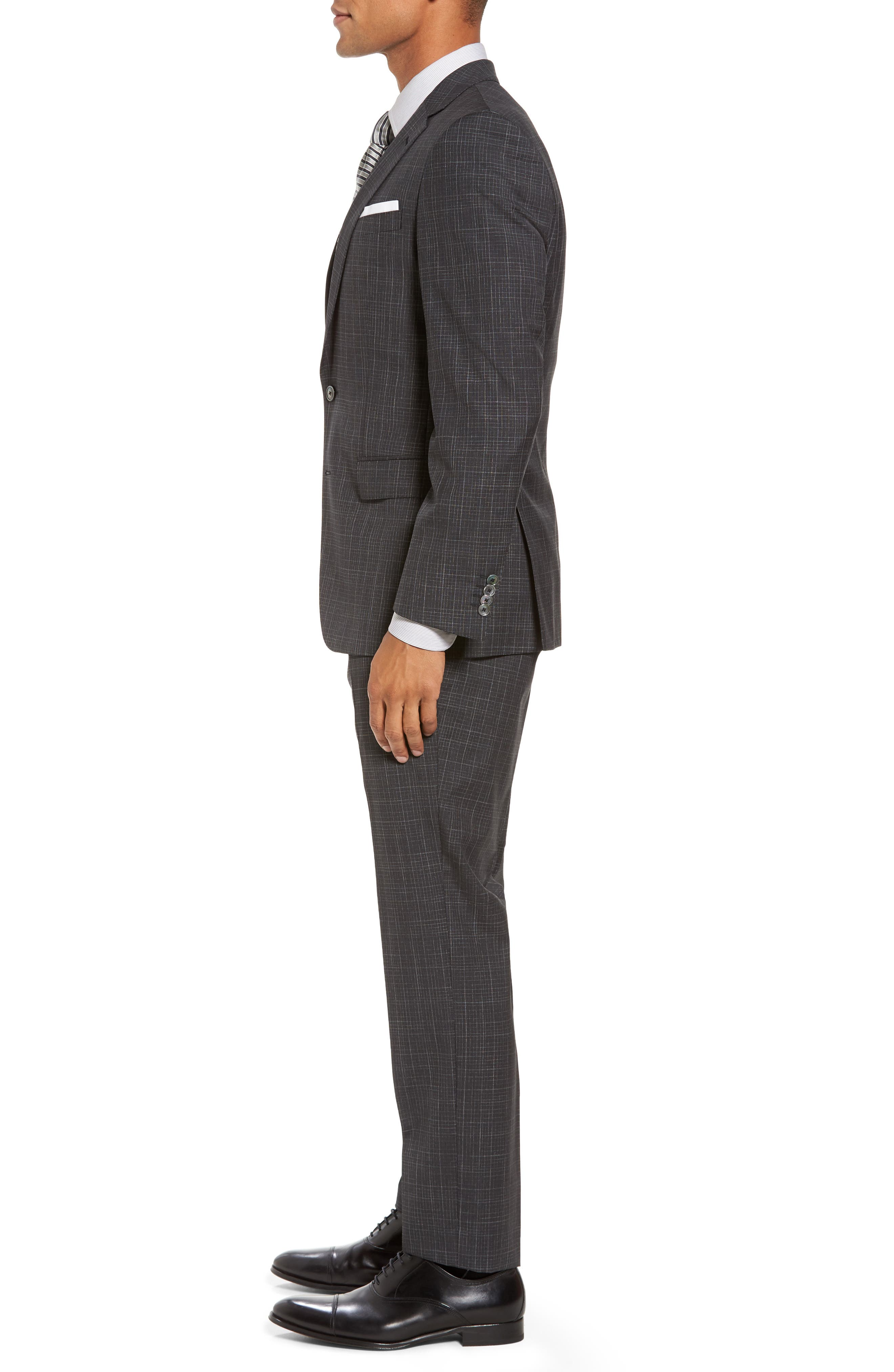 Hutson/Gander Trim Fit Plaid Wool Suit,                             Alternate thumbnail 3, color,                             Open Grey
