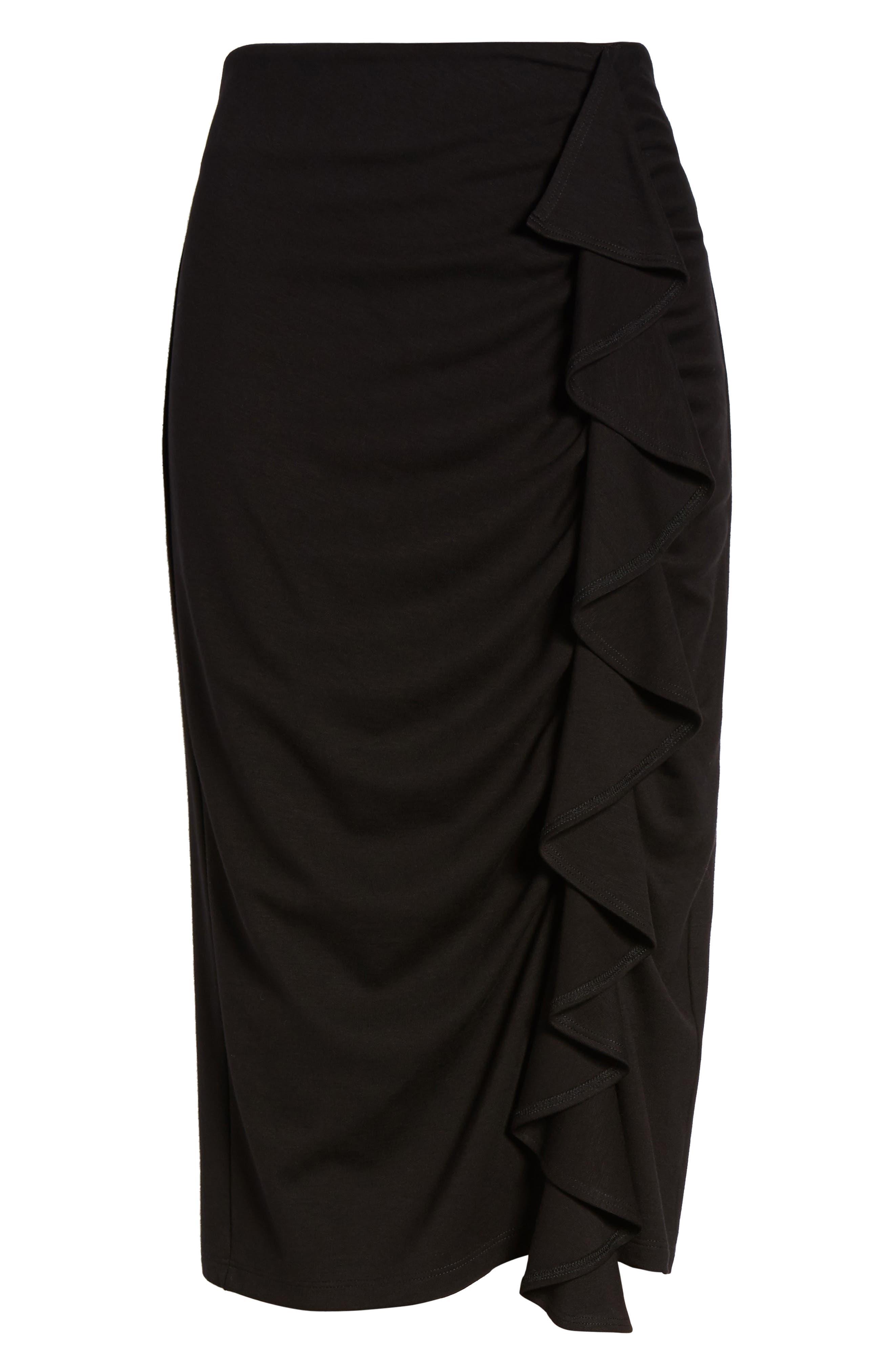 Side Ruffle Pencil Skirt,                             Alternate thumbnail 6, color,                             Black