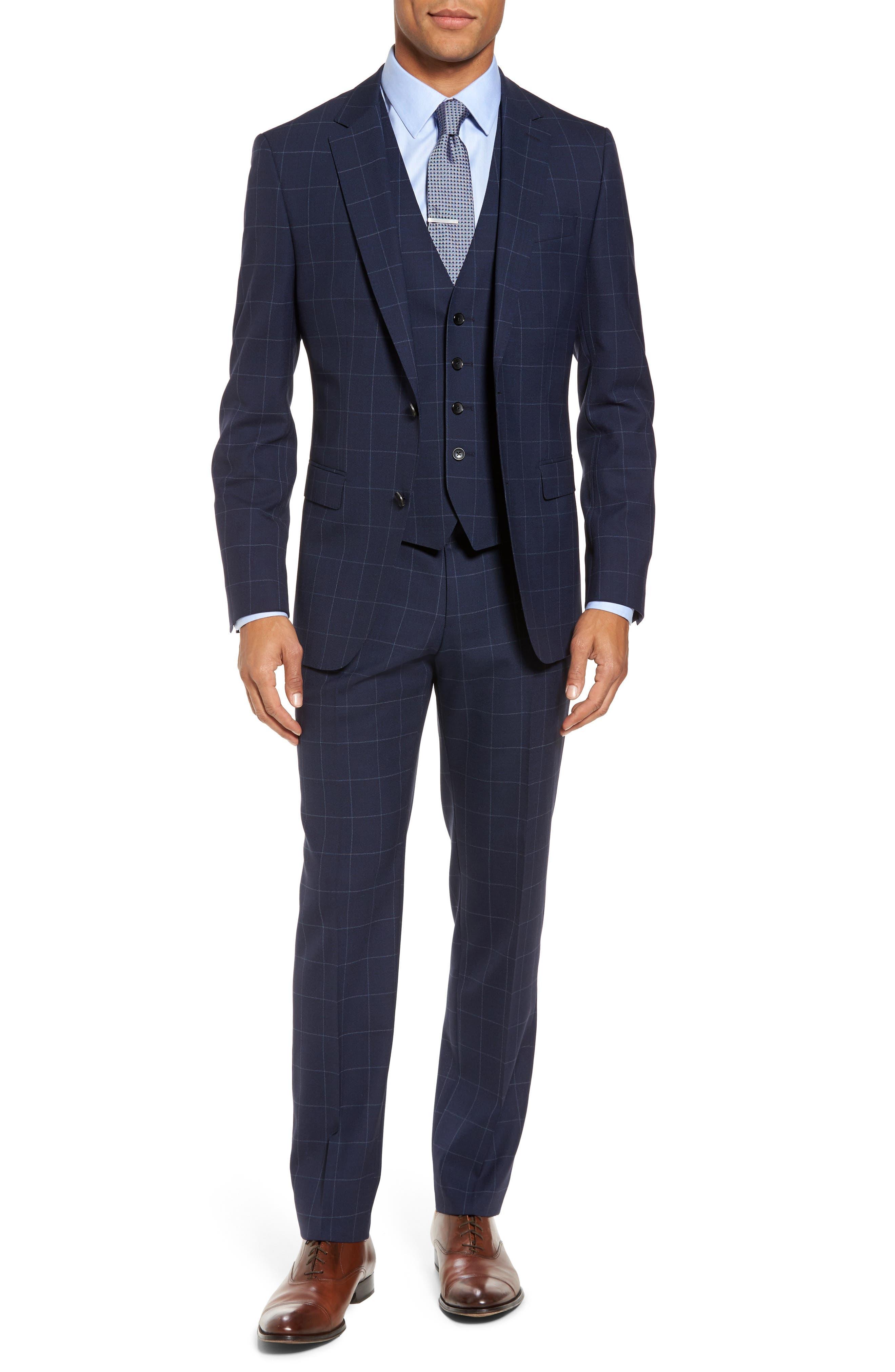 Huge/Genius Trim Fit Three Piece Windowpane Wool Suit,                         Main,                         color, Navy