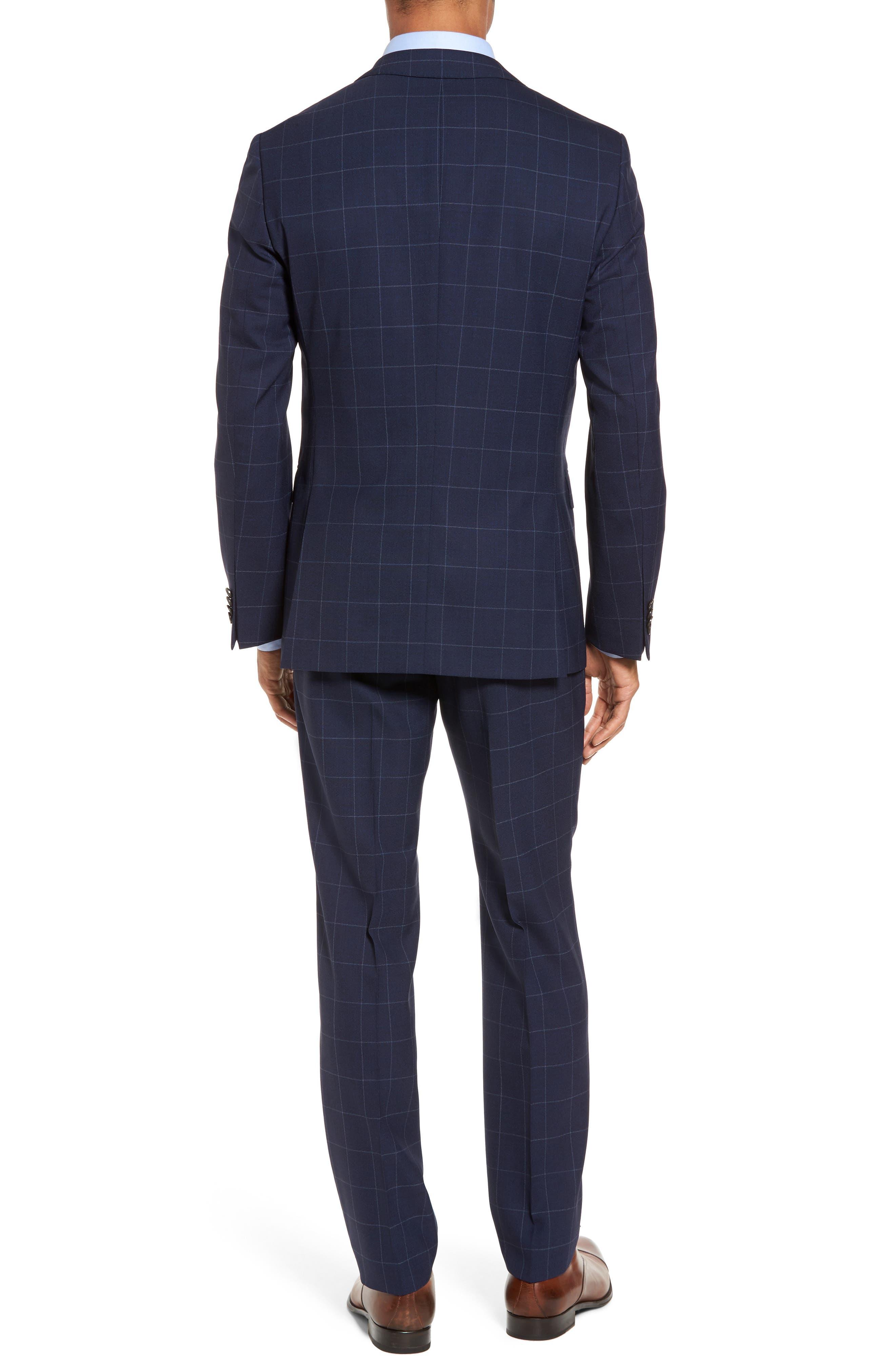 Huge/Genius Trim Fit Three Piece Windowpane Wool Suit,                             Alternate thumbnail 2, color,                             Navy