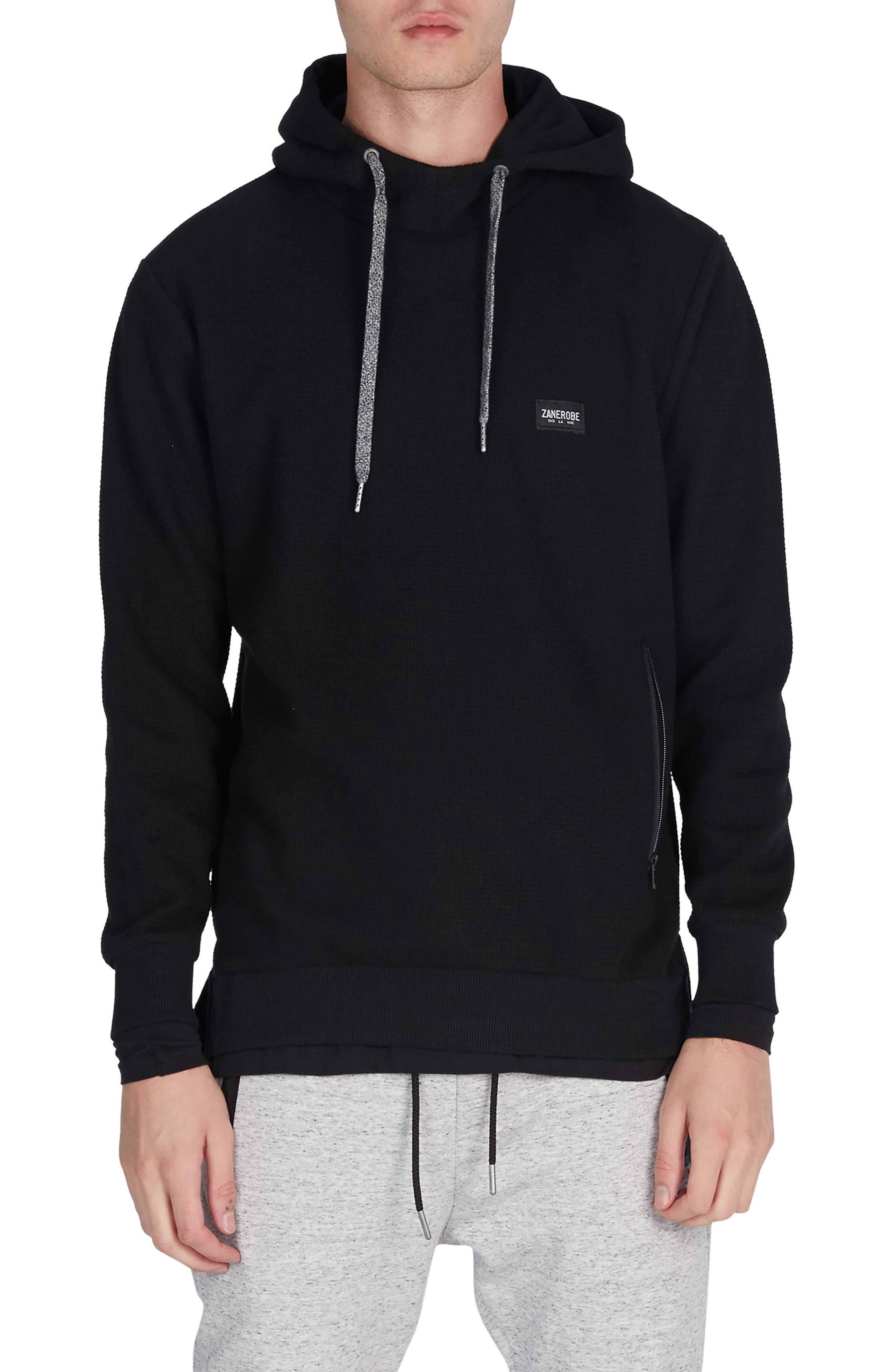 Waffle Knit Hoodie,                         Main,                         color, Black