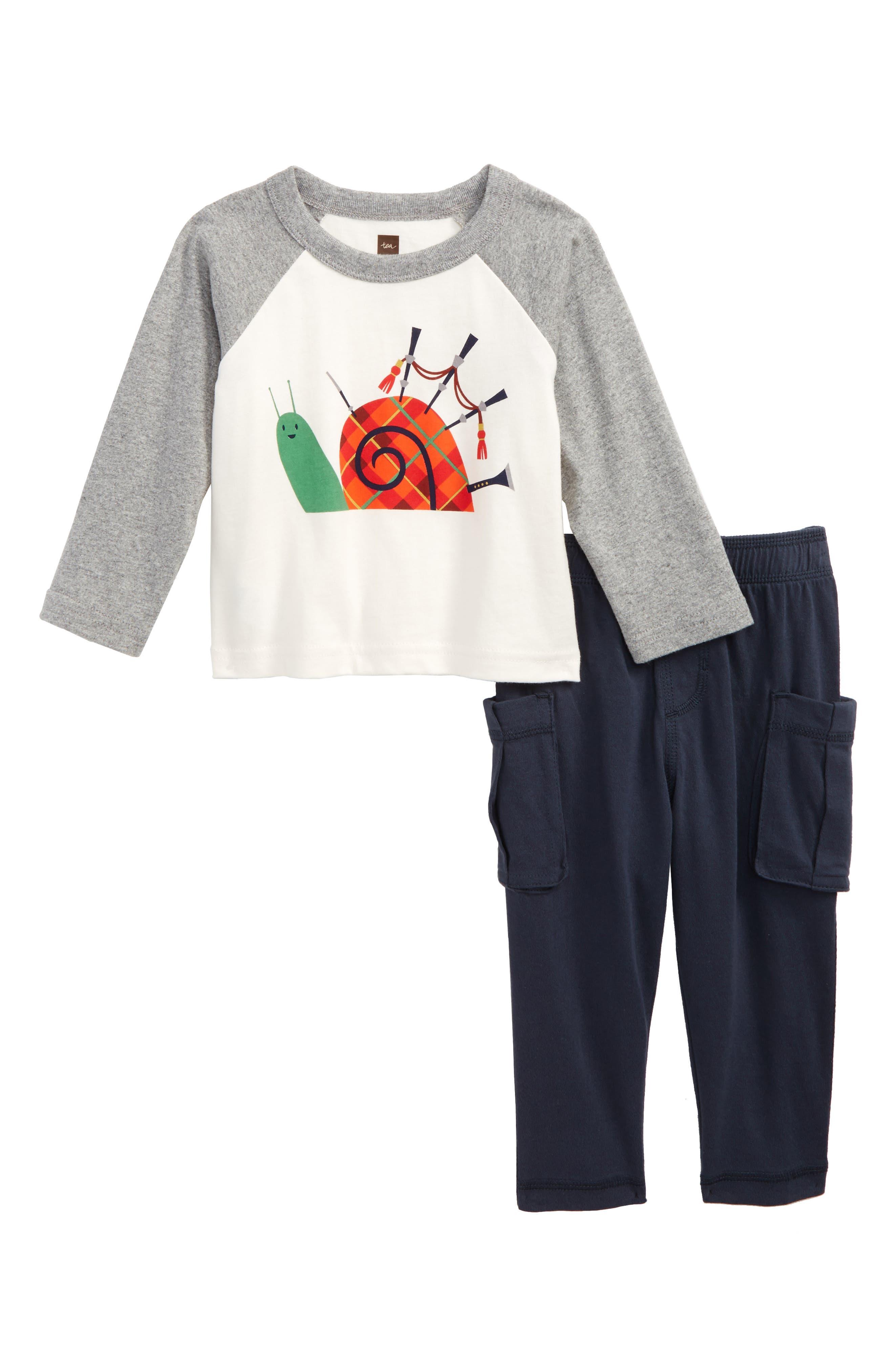 Puck's Glen T-Shirt & Cargo Pants Set,                         Main,                         color, Med Heather Grey