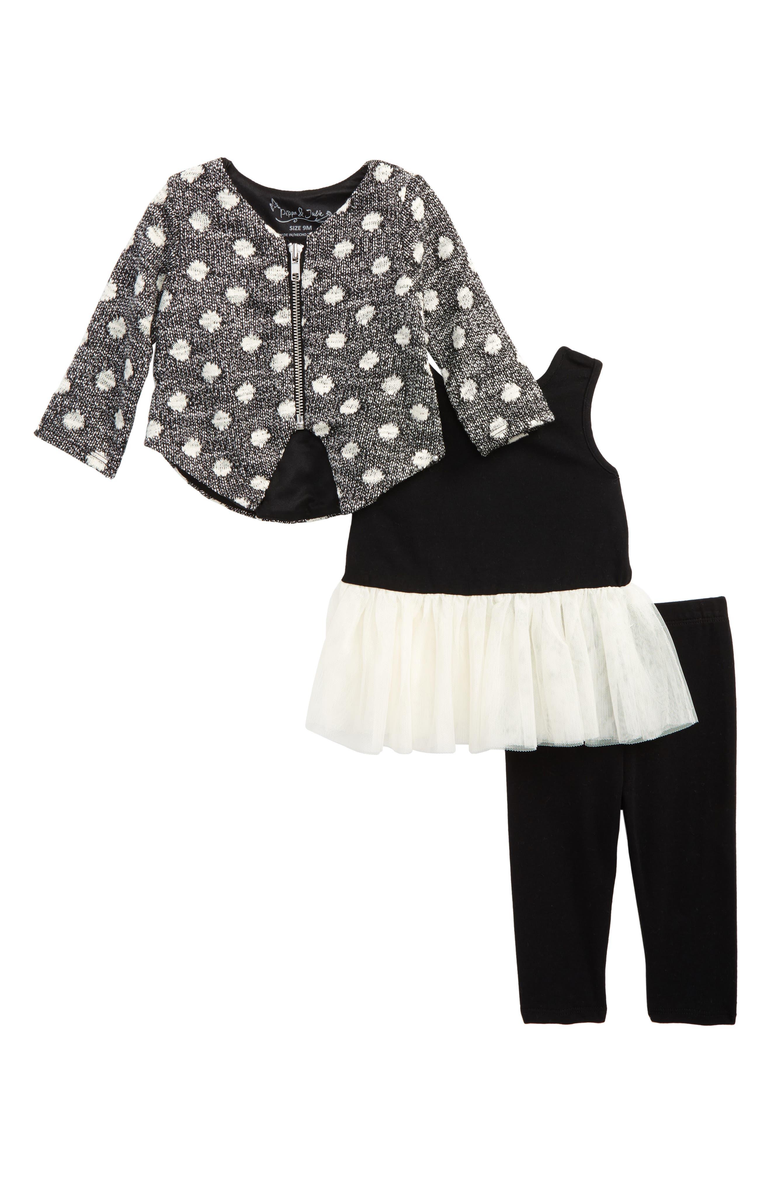 Pippa & Julie Dot Knit Sweater, Dress & Leggings Set (Baby Girls)