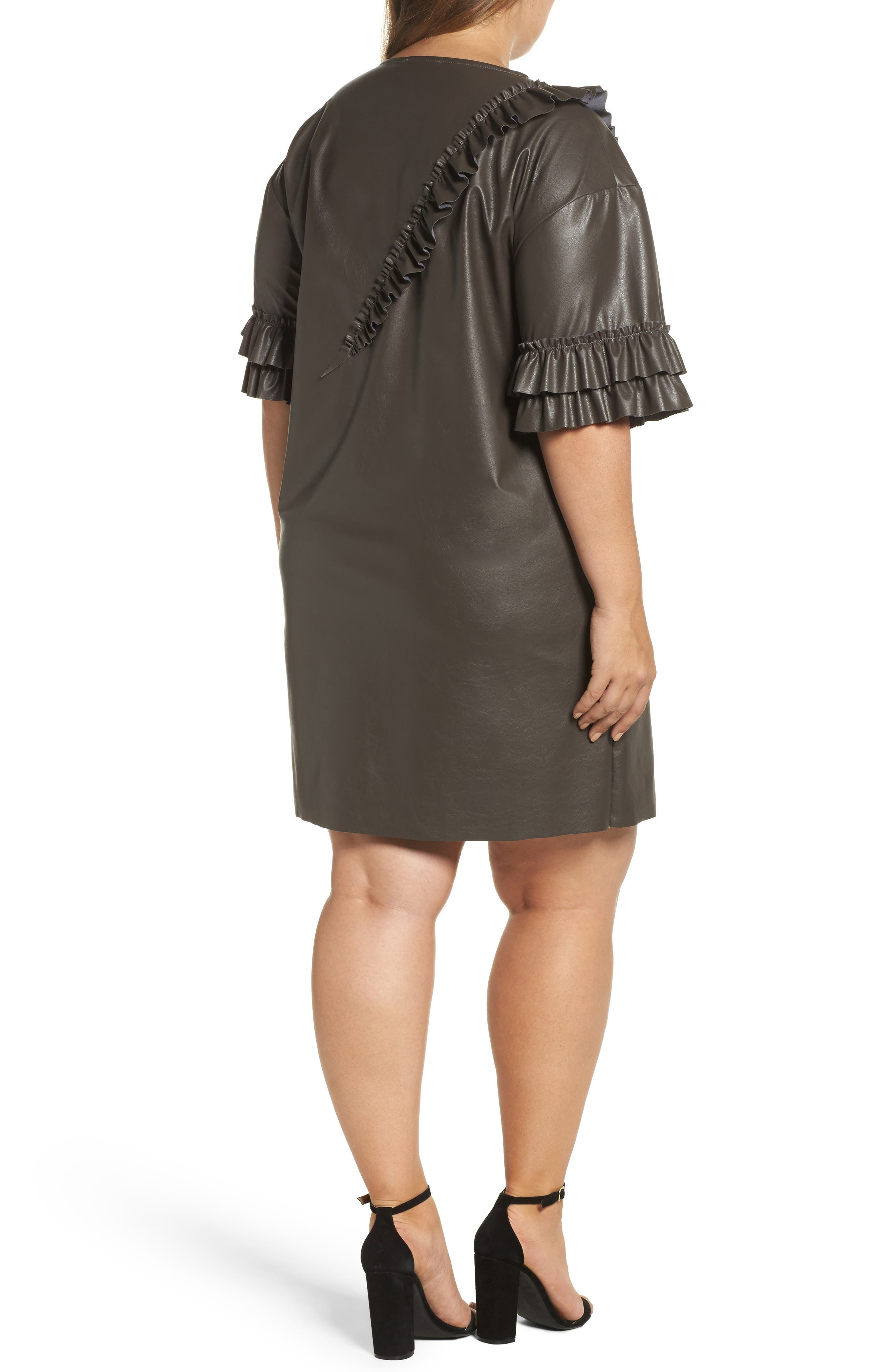 Alternate Image 2  - ELVI Ruffle Shift Dress (Plus Size)