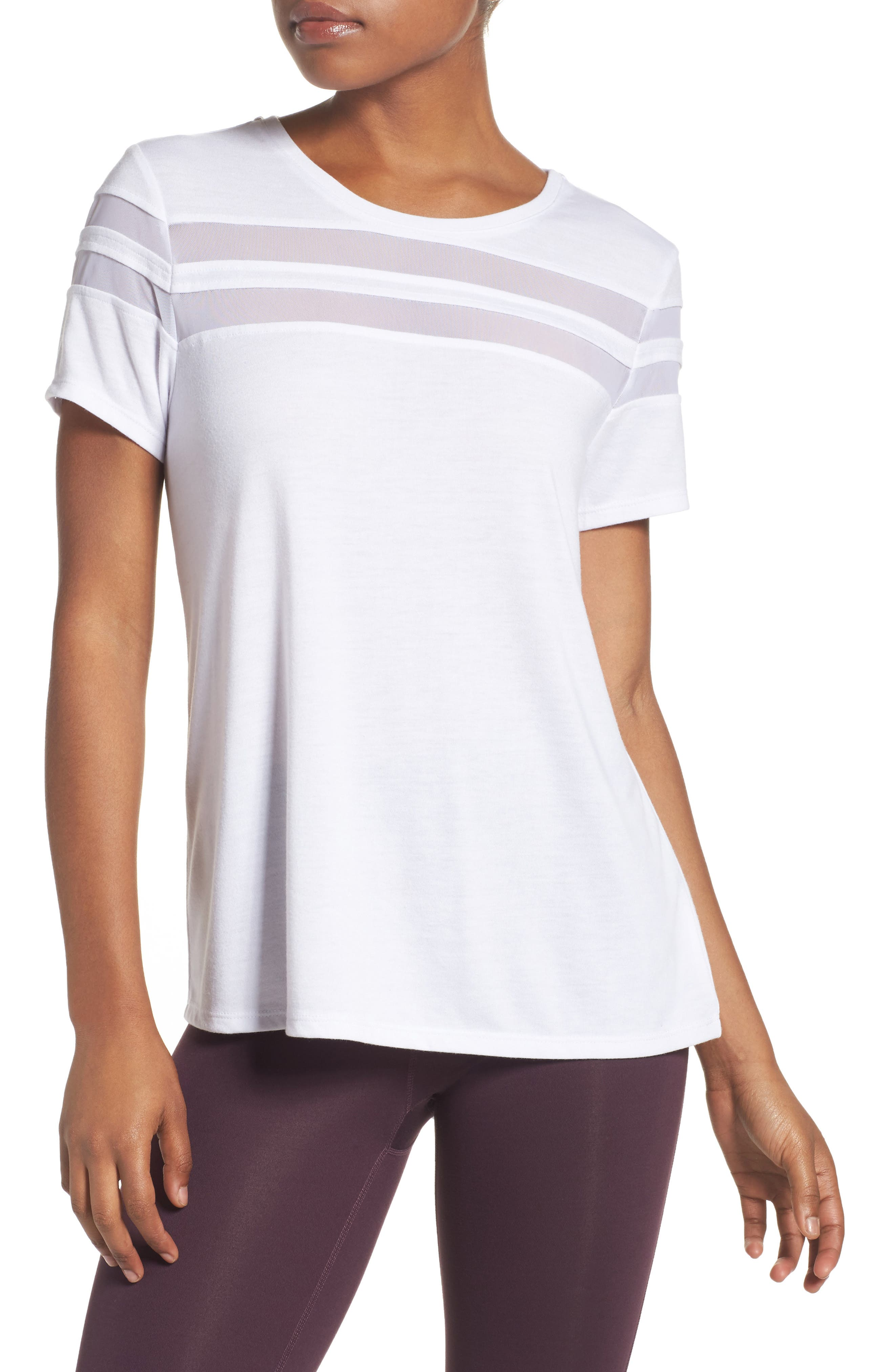 Everly Mesh Stripe Tee,                         Main,                         color, White