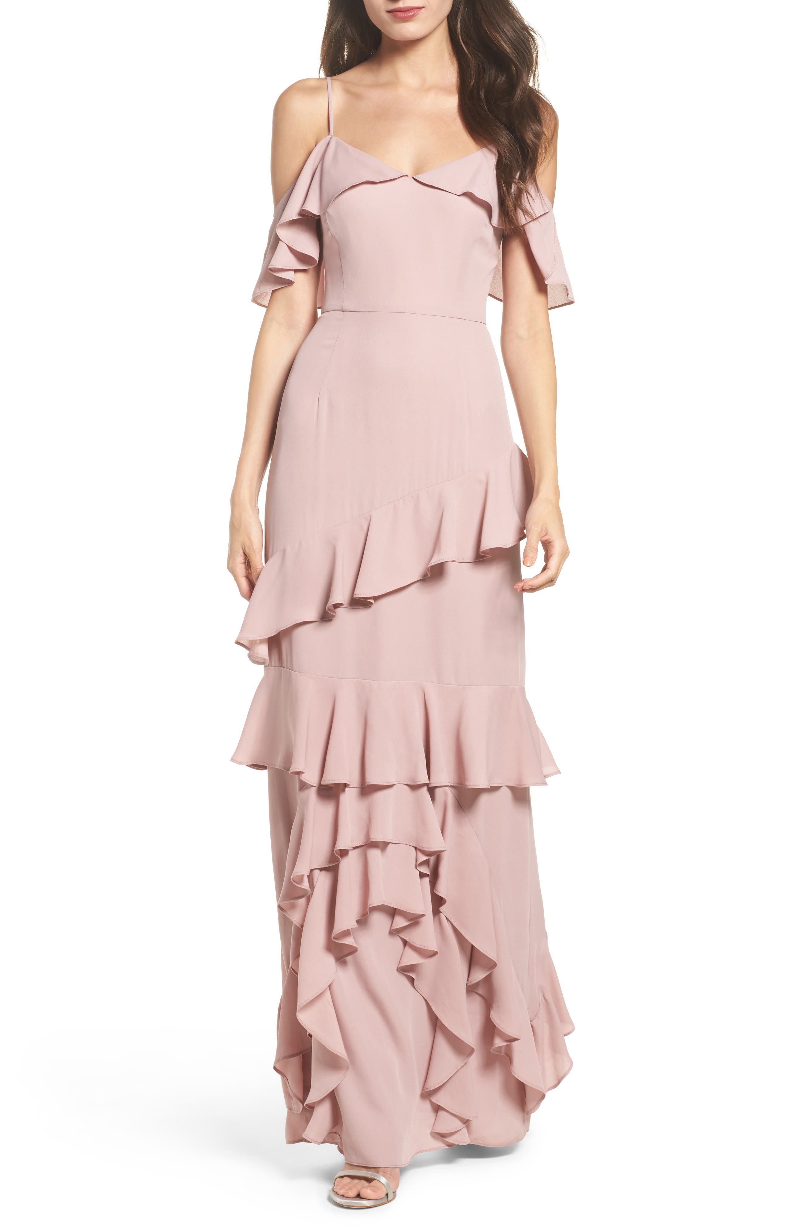 Danielle Off the Shoulder Tiered Crepe Dress,                         Main,                         color, London Fog
