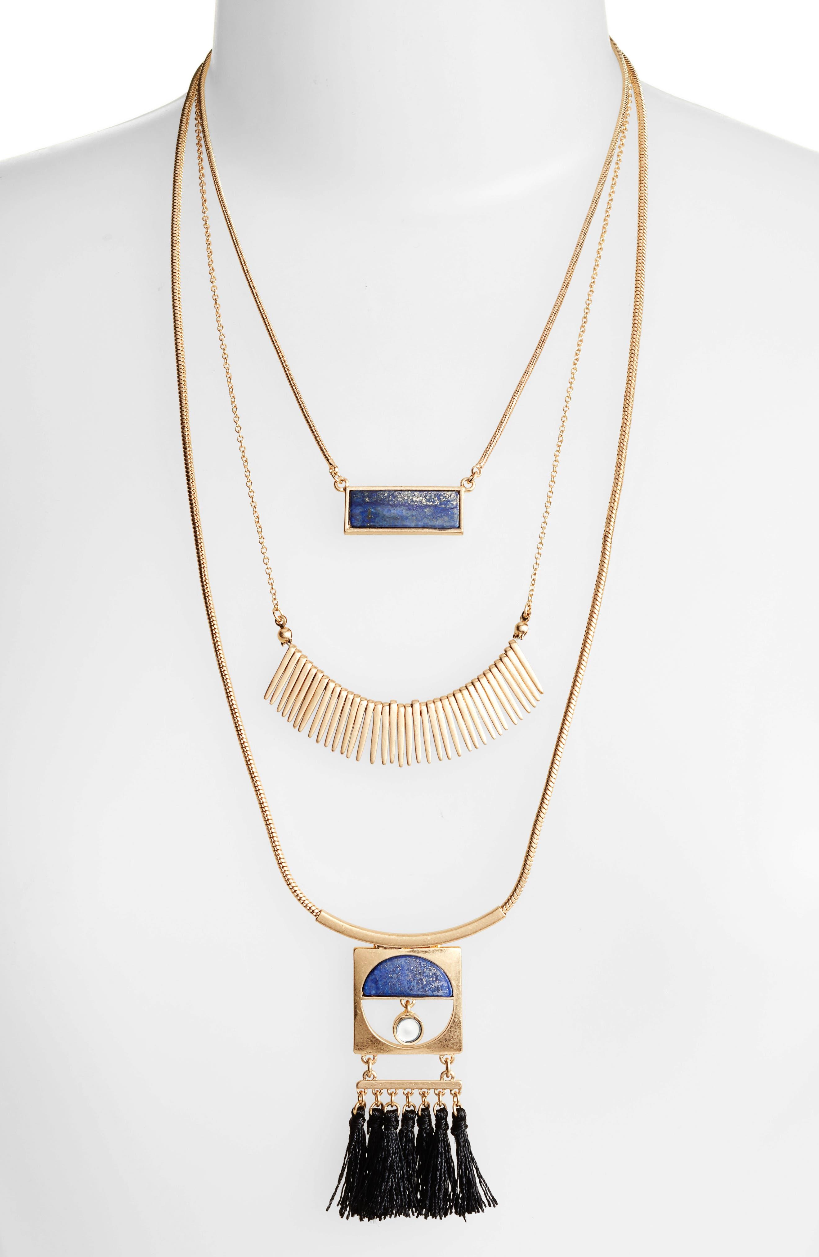 Layered Fringe Lapis Necklace,                             Main thumbnail 1, color,                             Gold/ Blue Lapis