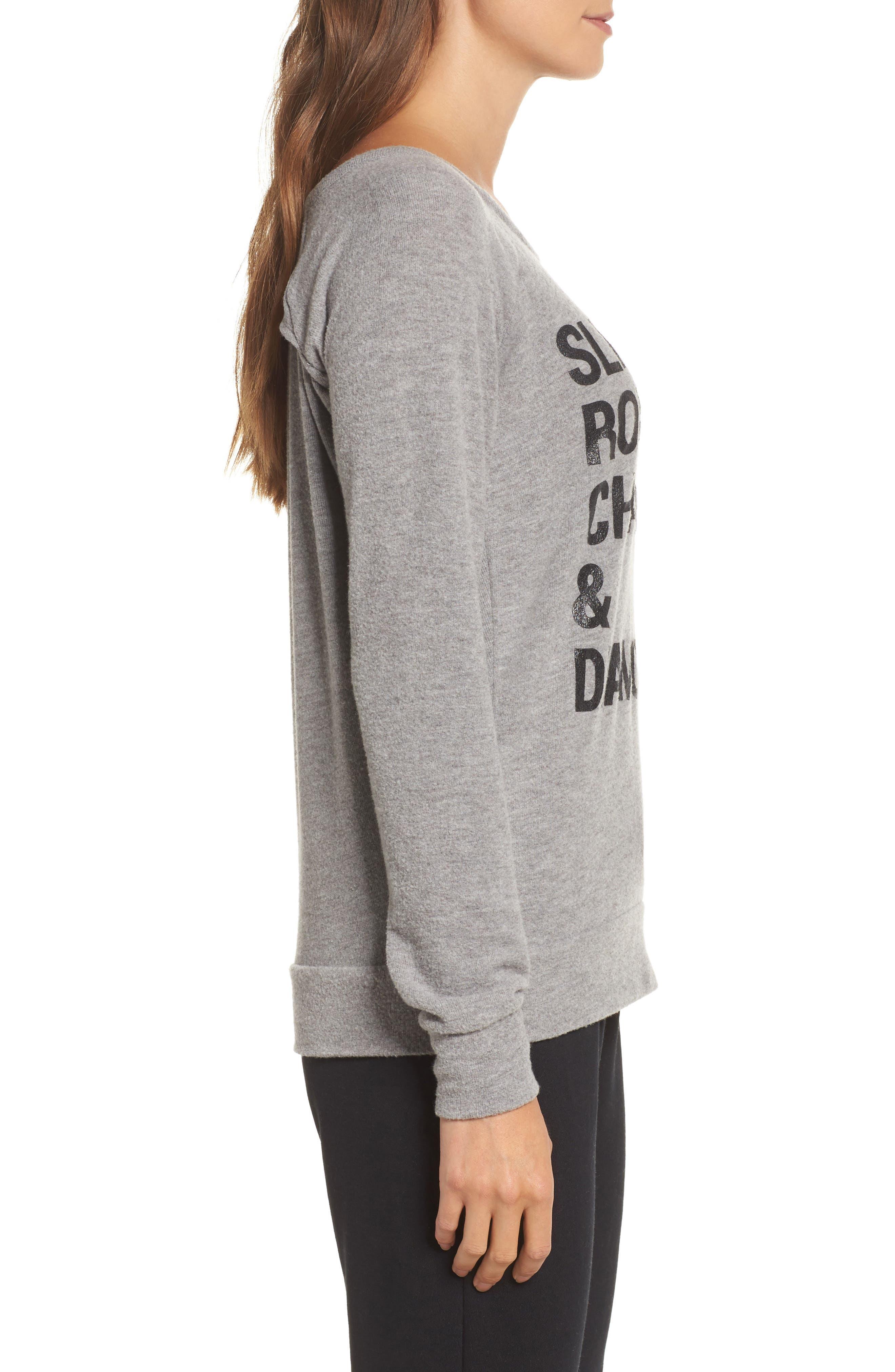 Drape Back Love Knit Sweatshirt,                             Alternate thumbnail 3, color,                             Heather Grey