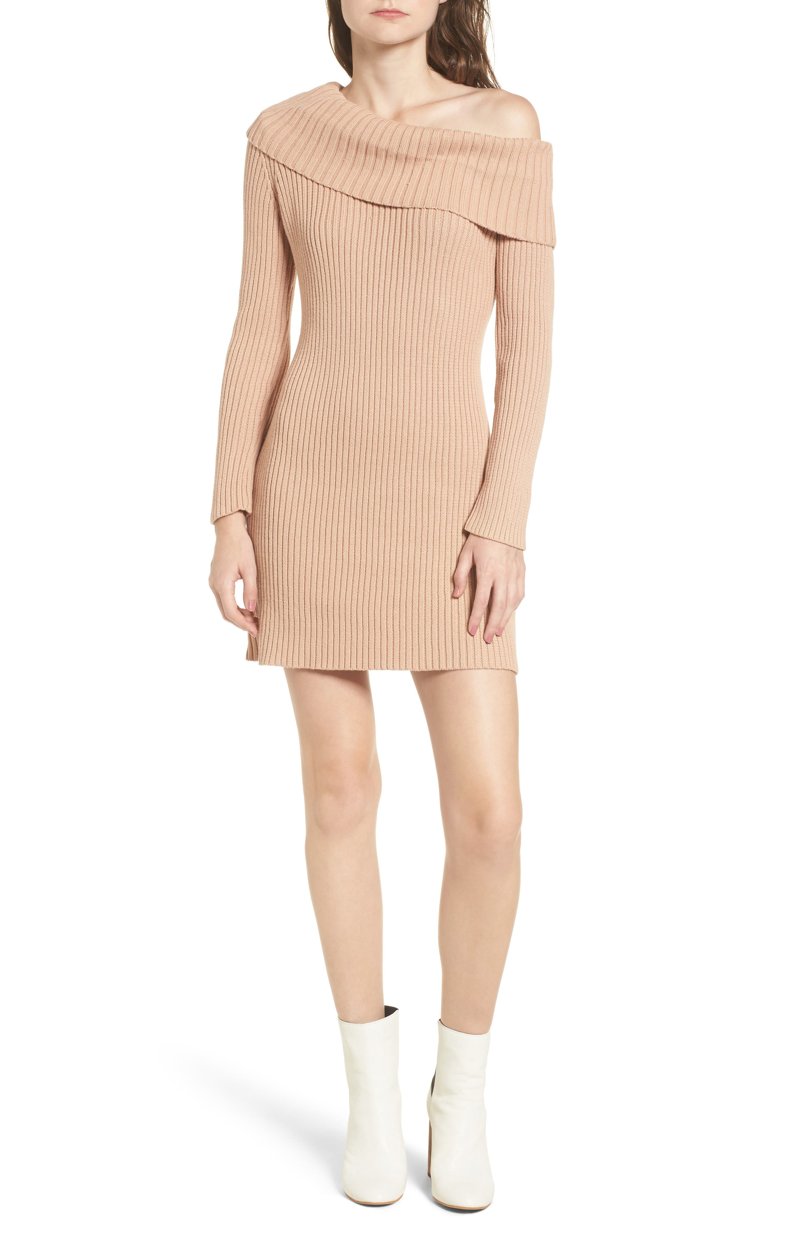 Like a Melody Off the Shoulder Dress,                             Main thumbnail 1, color,                             Dusty Pink