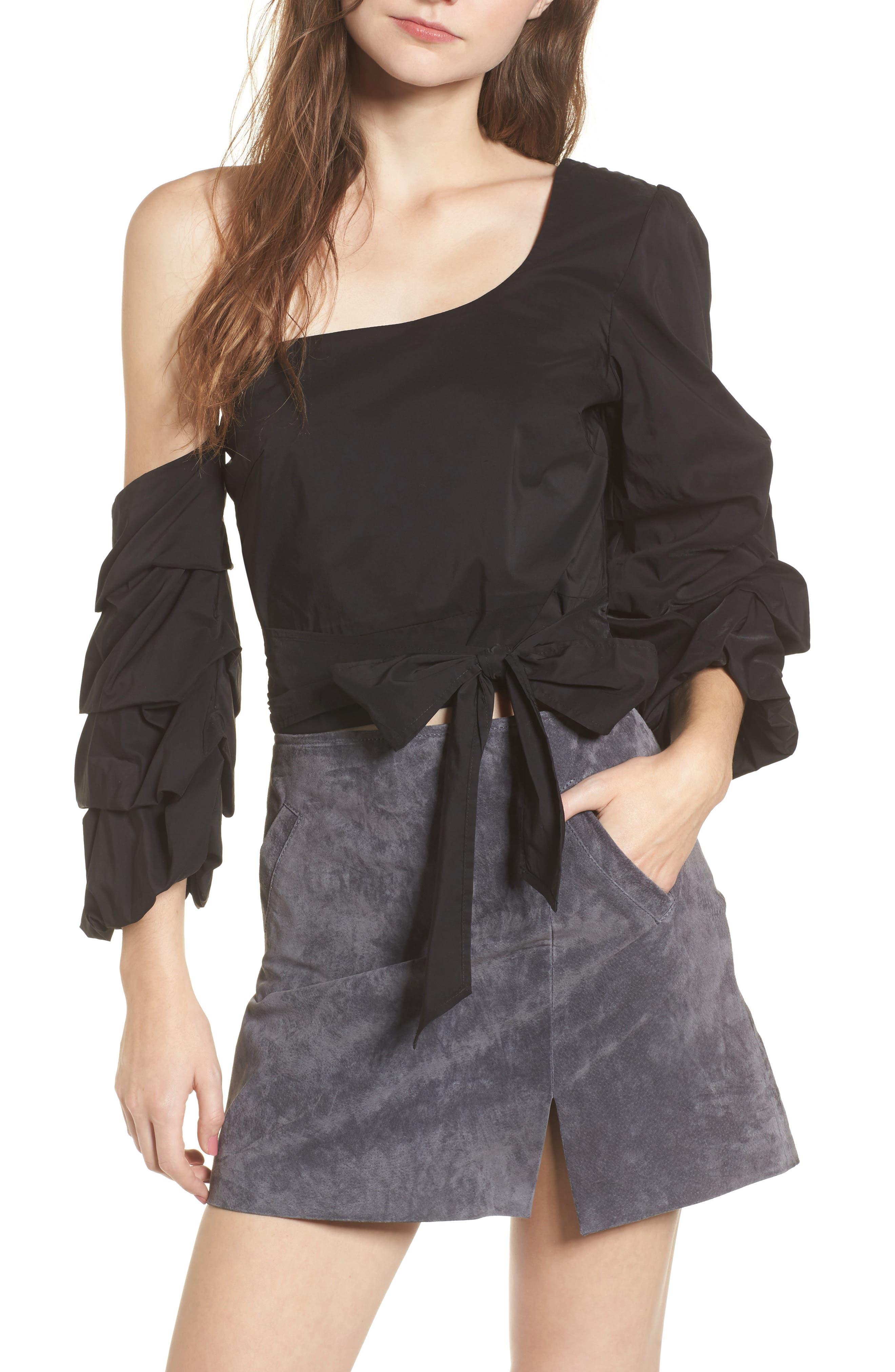 Ruffle One-Shoulder Blouse,                         Main,                         color, Black