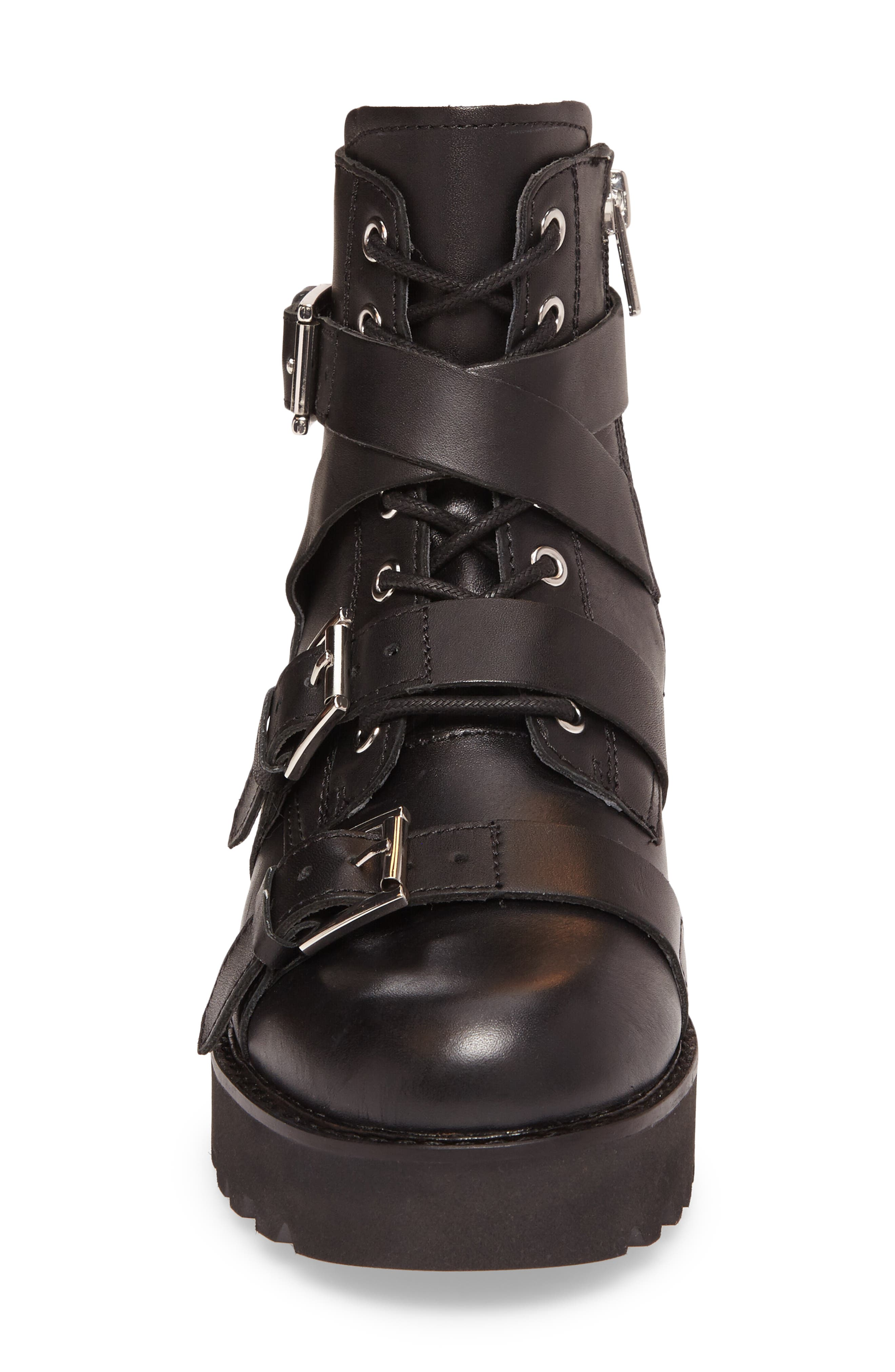 Razor Bootie,                             Alternate thumbnail 4, color,                             Black Leather
