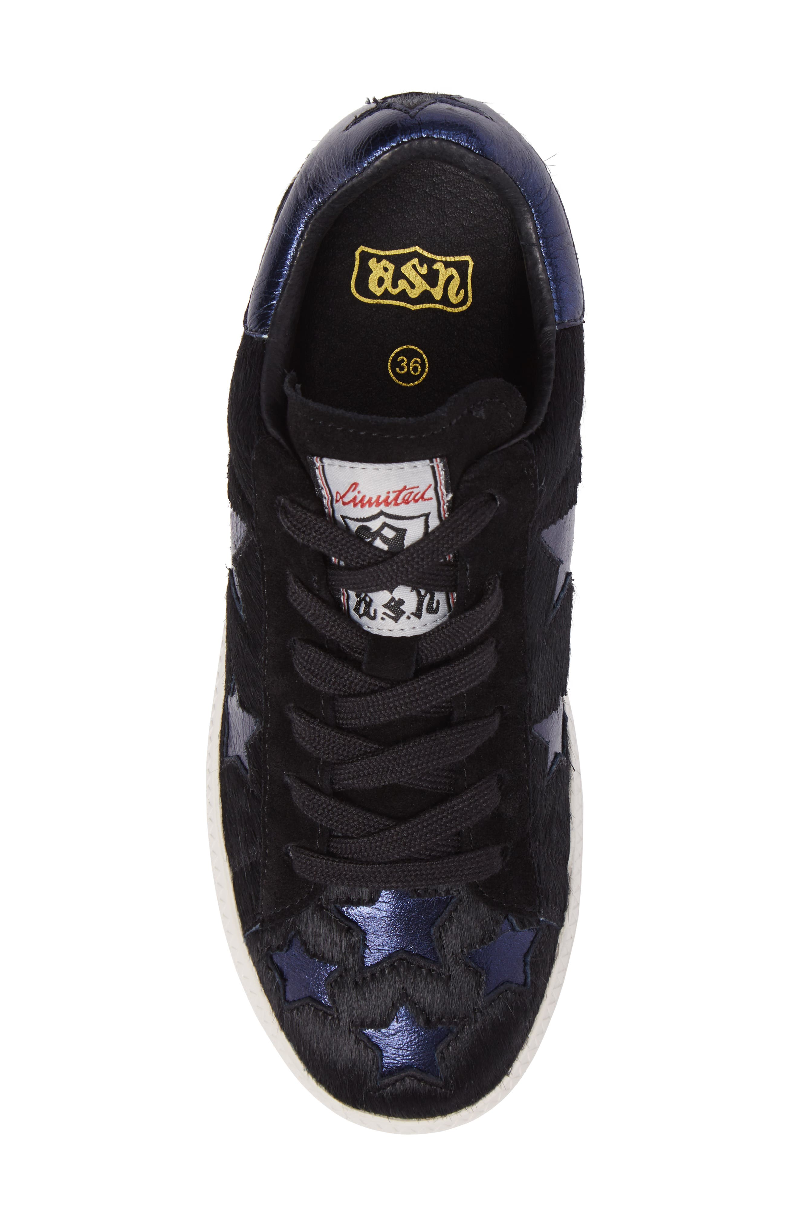 Cult Star Calf Hair Sneaker,                             Alternate thumbnail 5, color,                             Black/ Midnight Leather