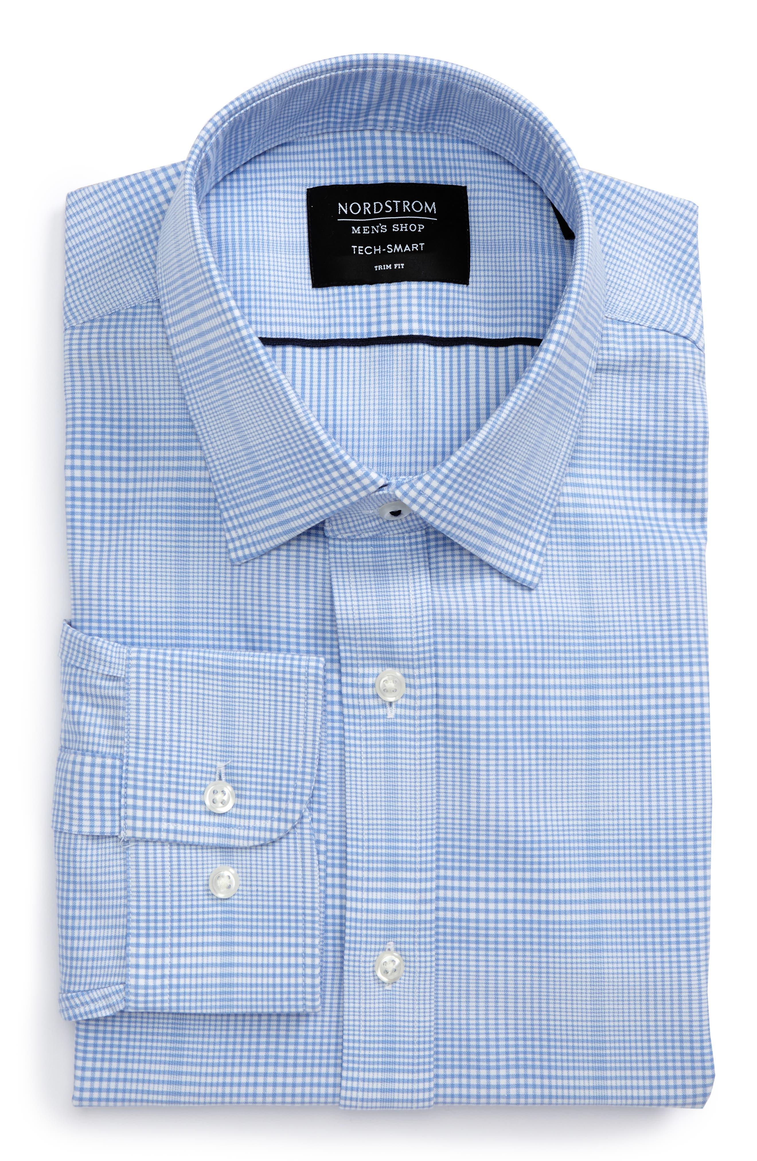 Tech-Smart Trim Fit Stretch Plaid Dress Shirt,                             Alternate thumbnail 5, color,                             Blue Hydrangea