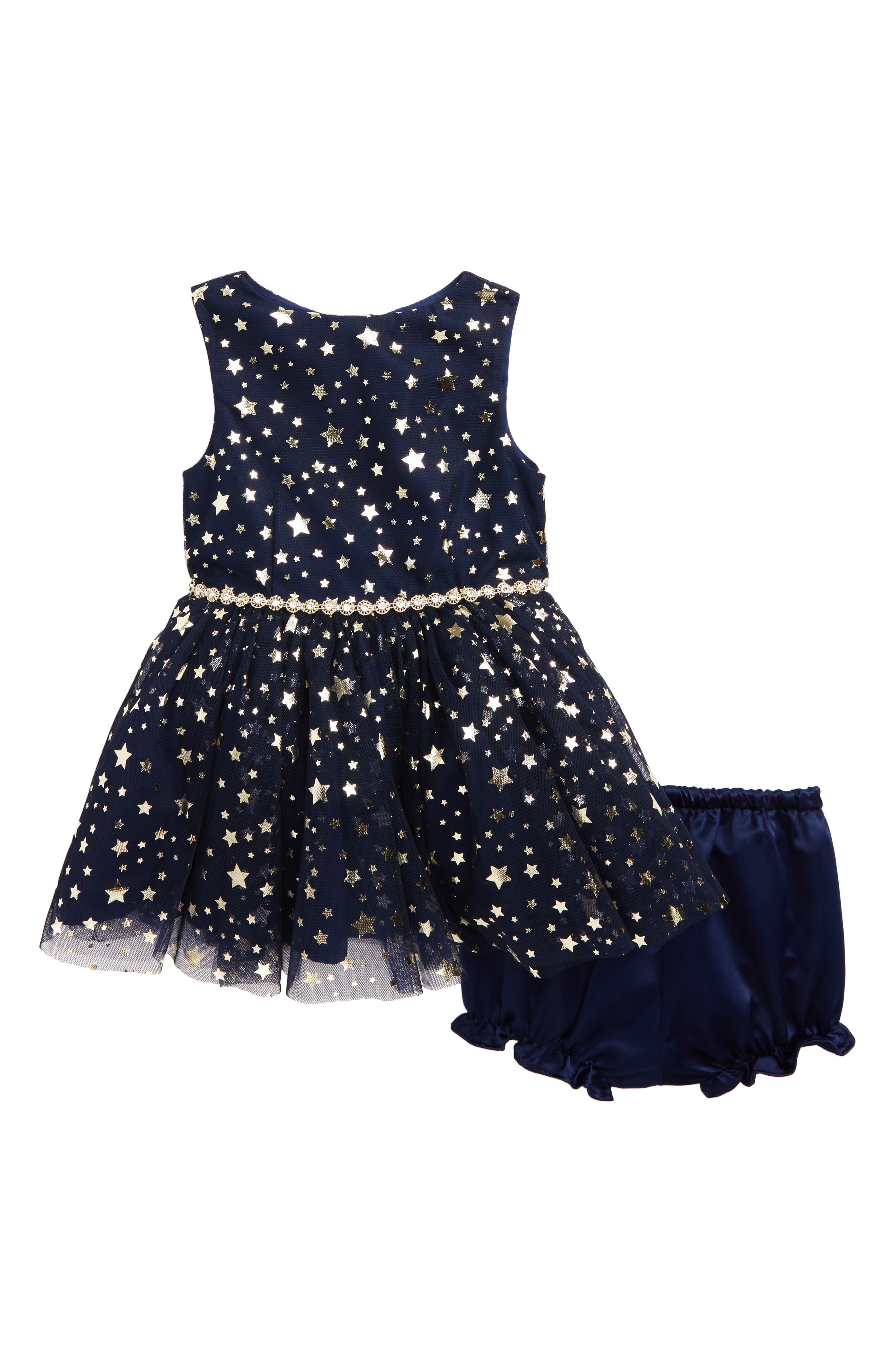 Metallic Star Tulle Dress,                         Main,                         color, Navy