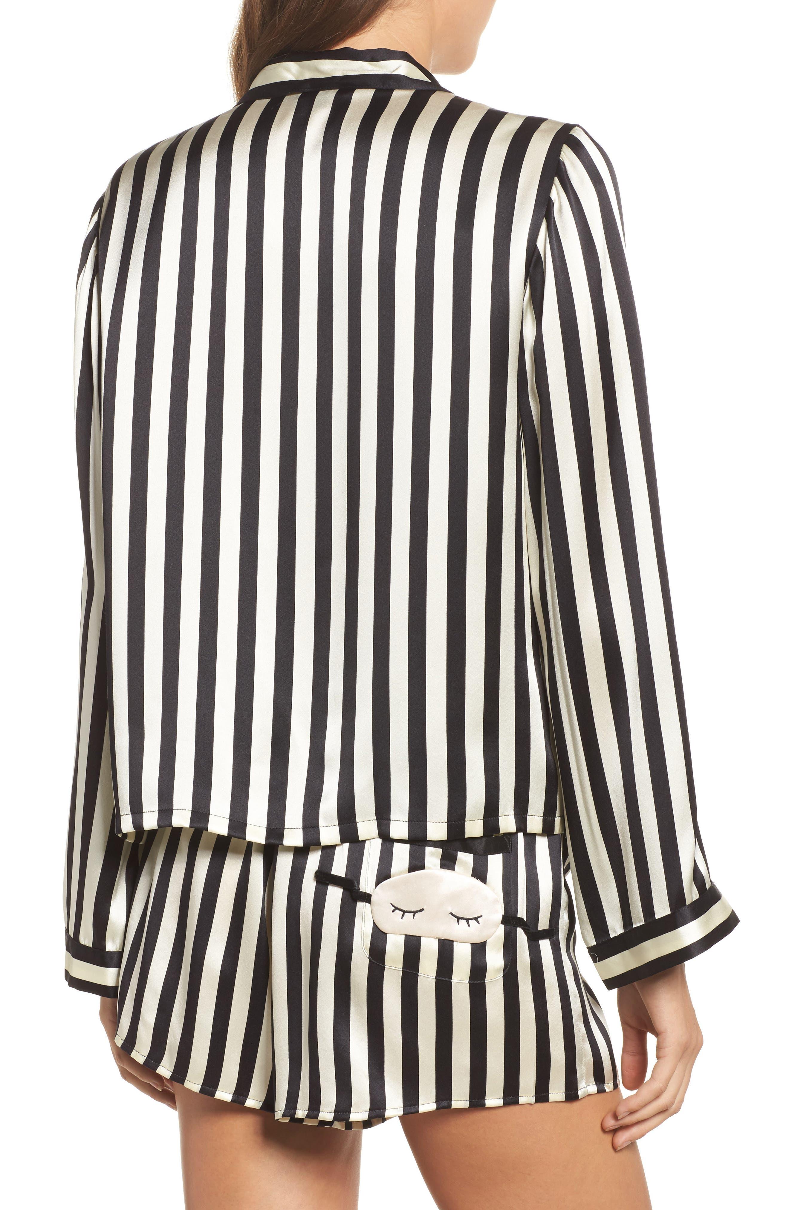 x Amanda Fatherazi Ruthie Mini Mask Stripe Pajama Top,                             Alternate thumbnail 2, color,                             Noir/ Ecru