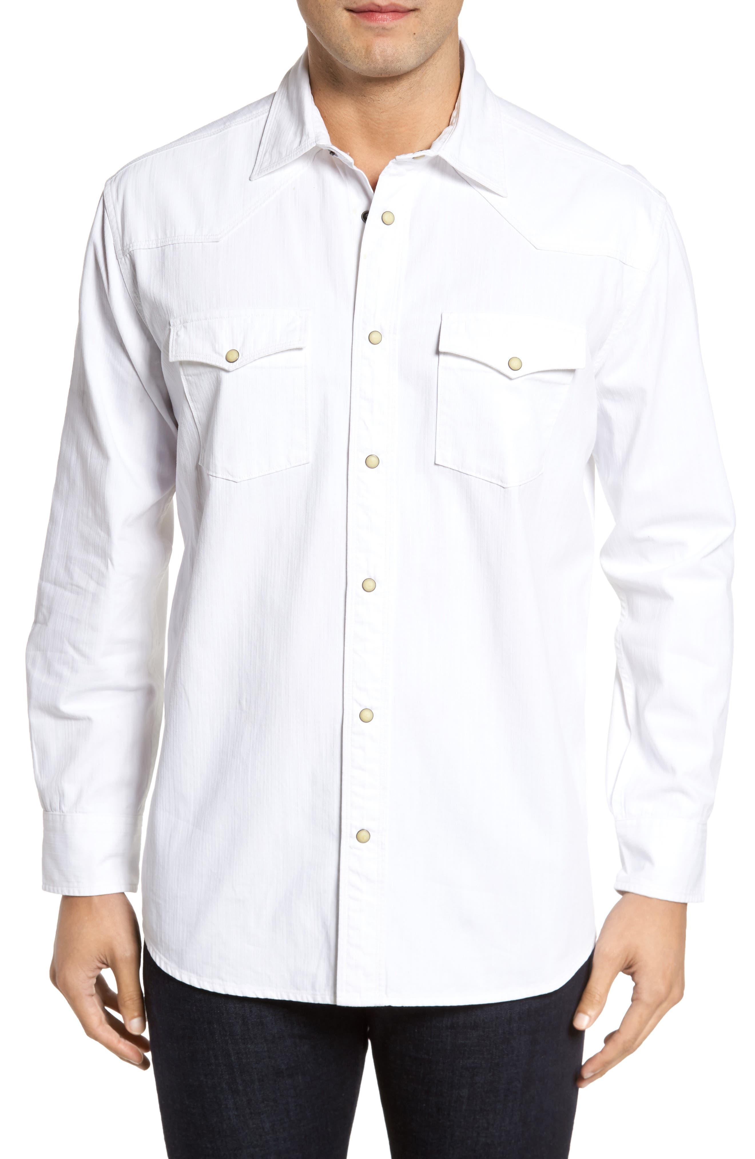 Regular Fit Denim Western Shirt,                             Main thumbnail 1, color,                             White