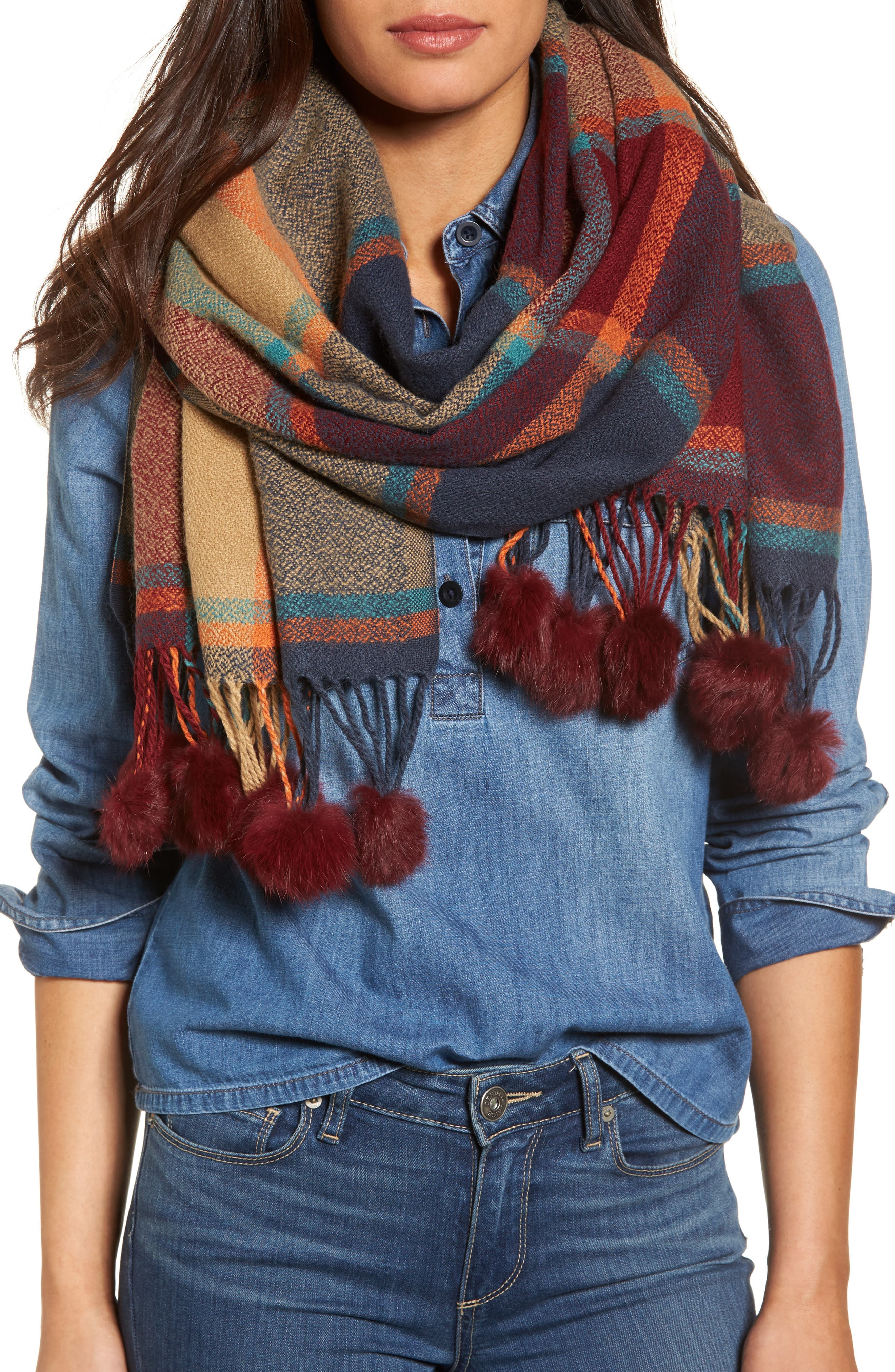 Katarina Scarf with Genuine Rabbit Fur Trim,                             Main thumbnail 1, color,                             Wine