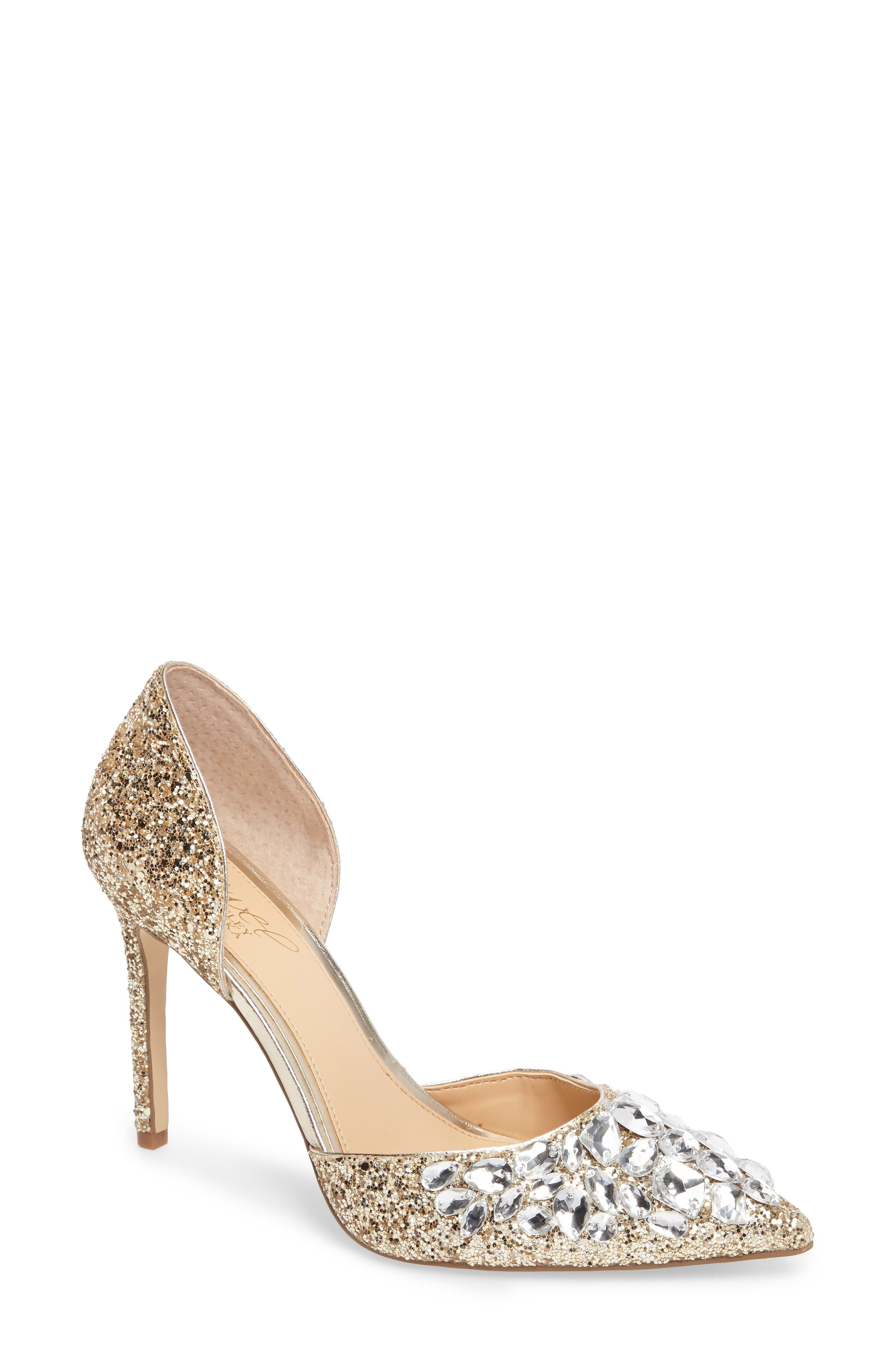Upton Embellished Pump,                             Main thumbnail 1, color,                             Gold Glitter Fabric