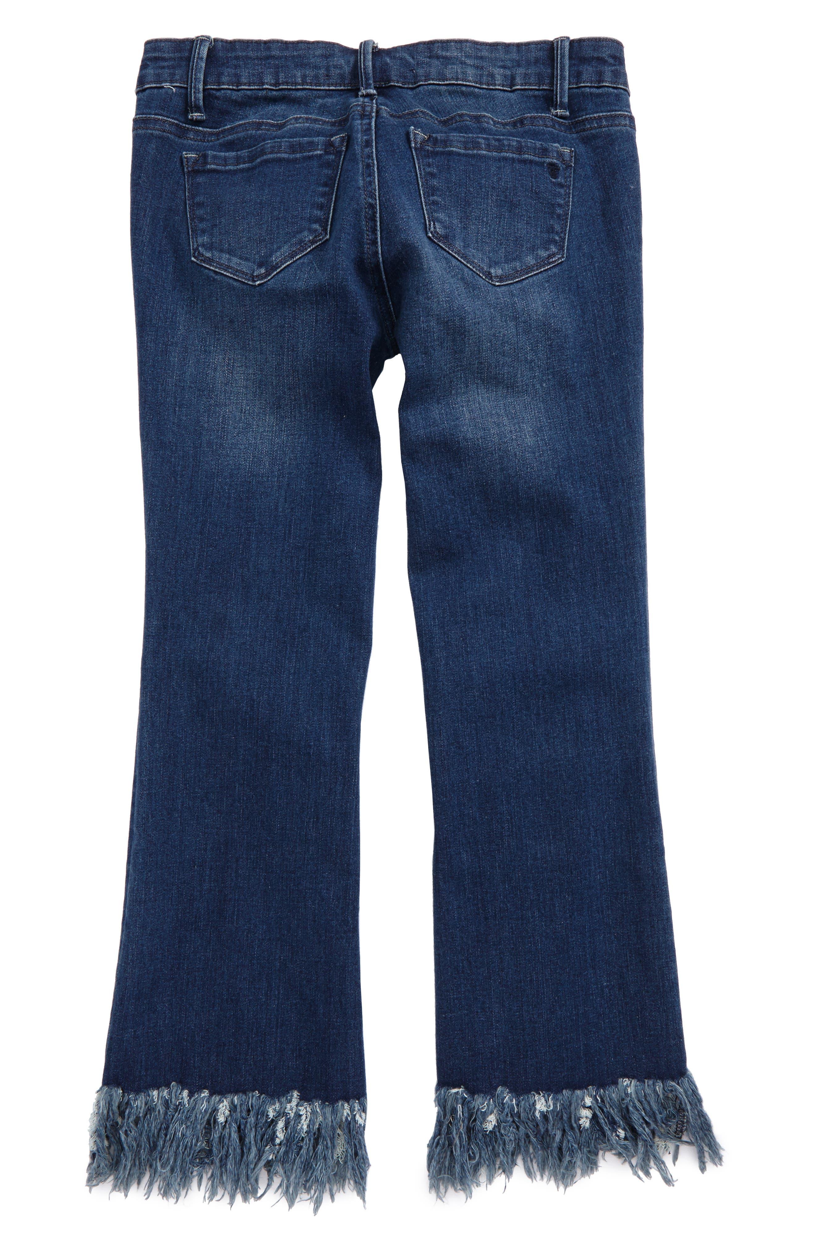 Alternate Image 2  - Tractr Frayed Hem Crop Jeans (Big Girls)