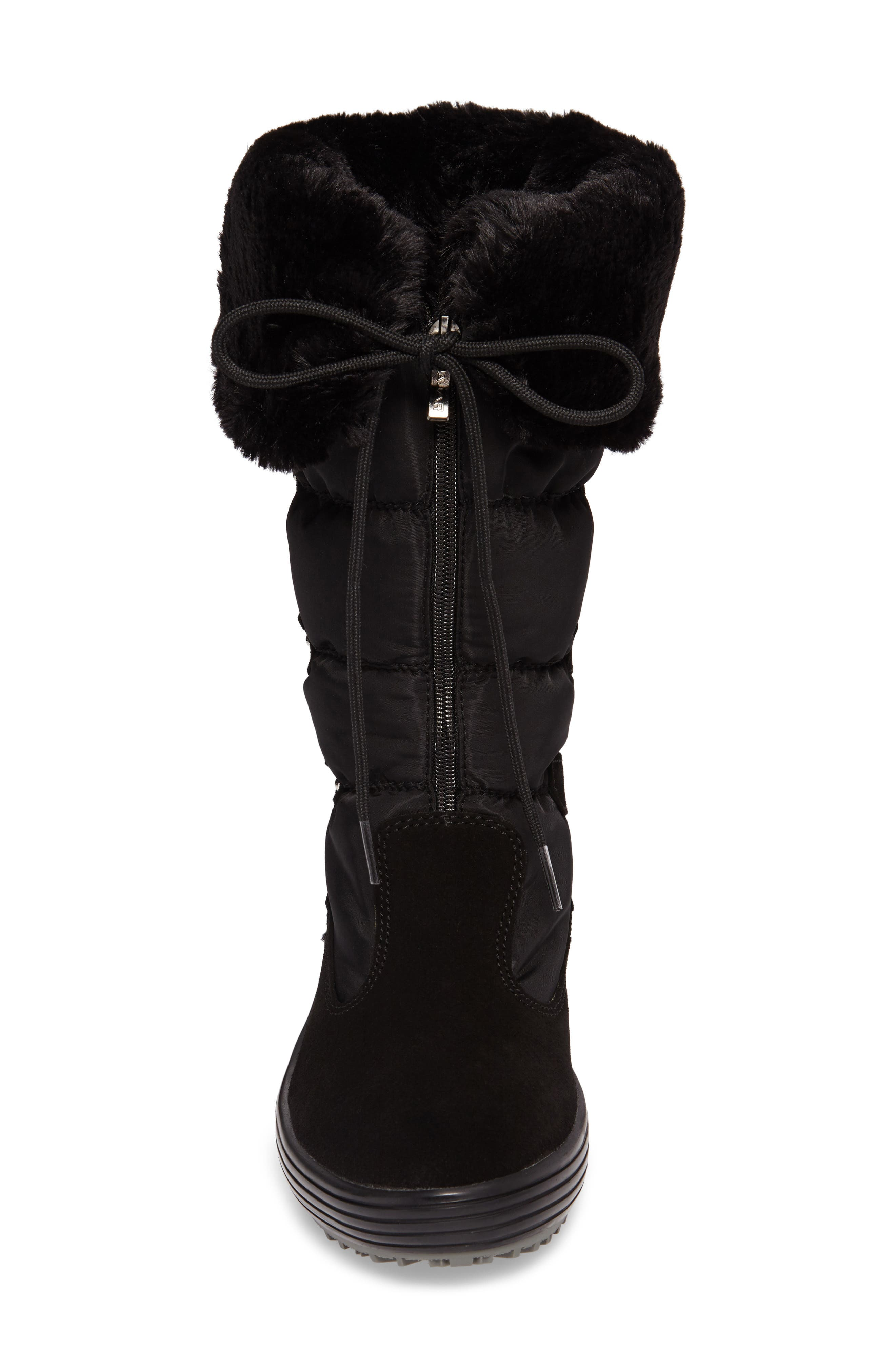 Mia Waterproof Boot with Faux Fur Trim,                             Alternate thumbnail 4, color,                             Black Suede