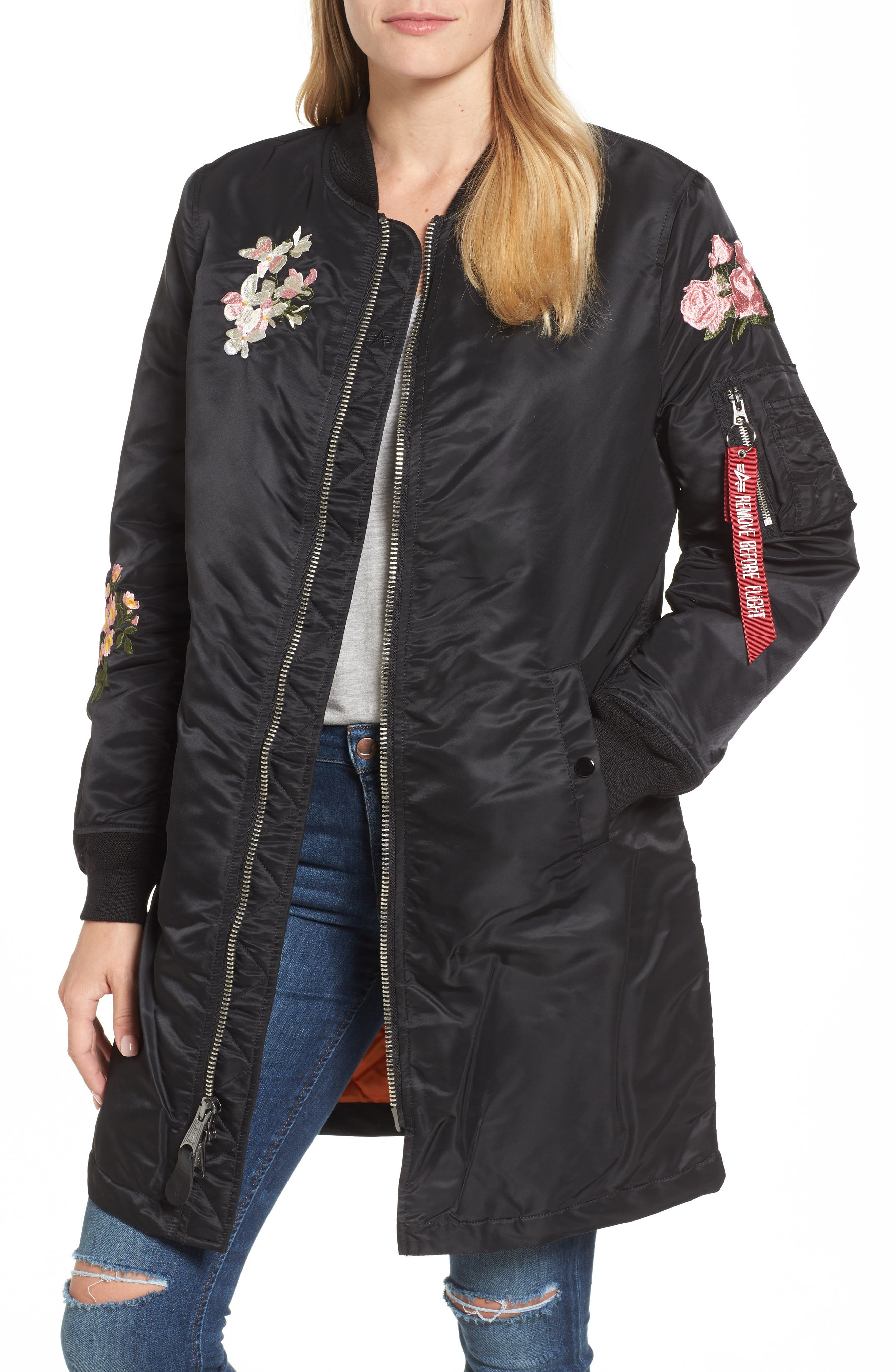 Long Souvenir Illusion MA-1 Jacket,                         Main,                         color, Black