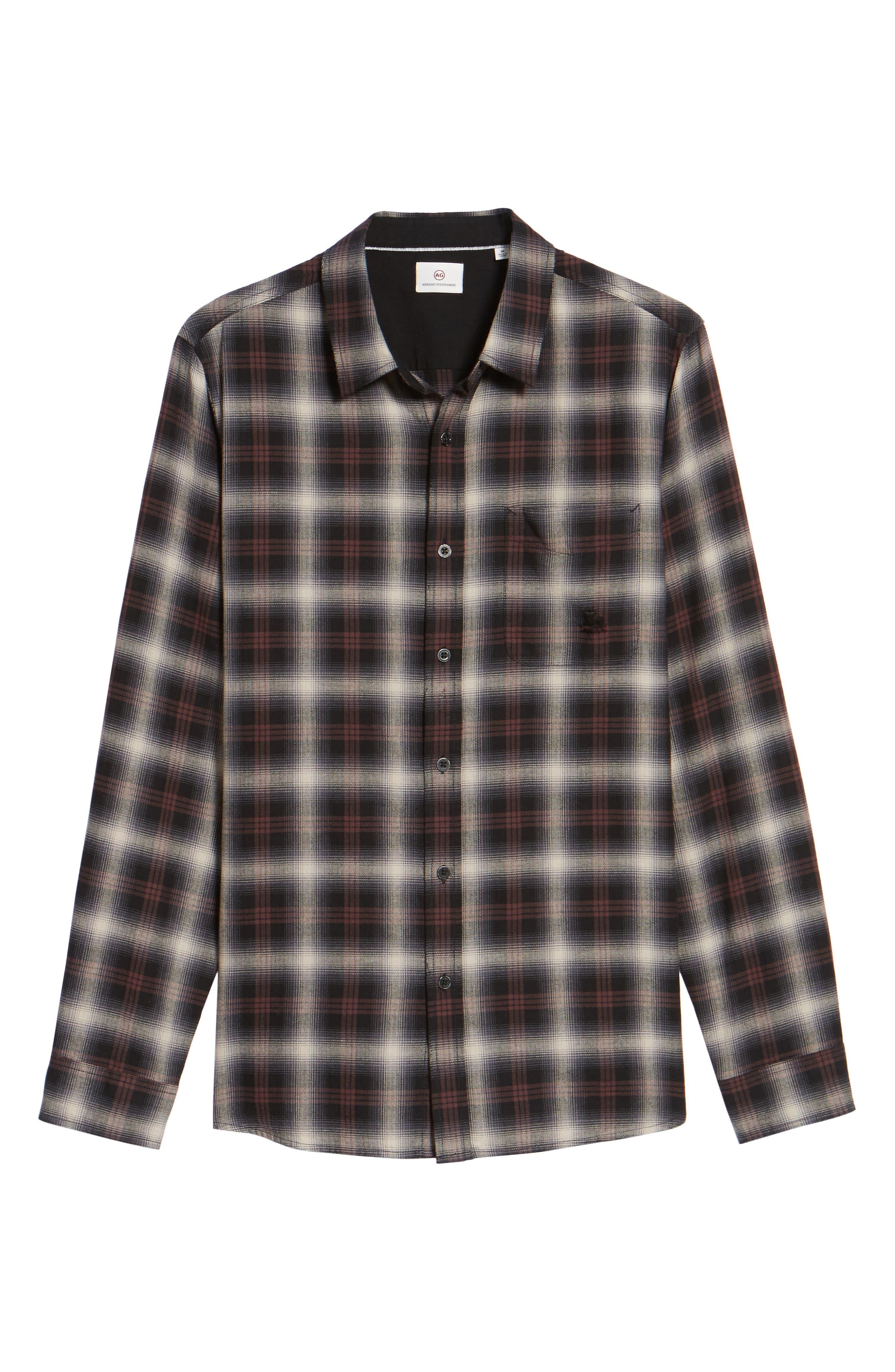 Colton Slim Fit Plaid Sport Shirt,                             Alternate thumbnail 6, color,                             7 Years Beige/ Deep Mahogany
