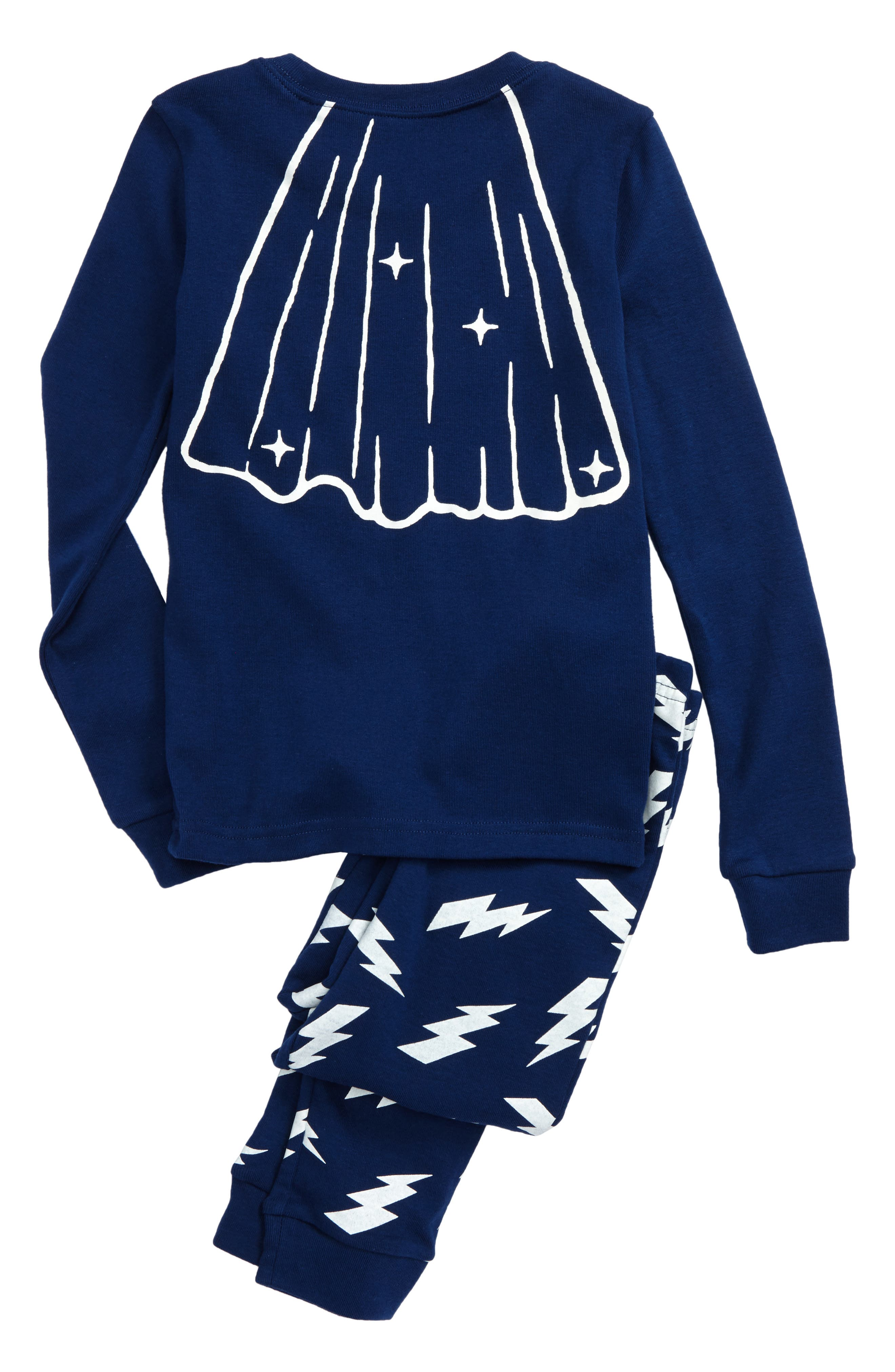 Super Kid Glow in the Dark Fitted Two-Piece Pajamas,                             Alternate thumbnail 2, color,                             Blue Estate Super Kid