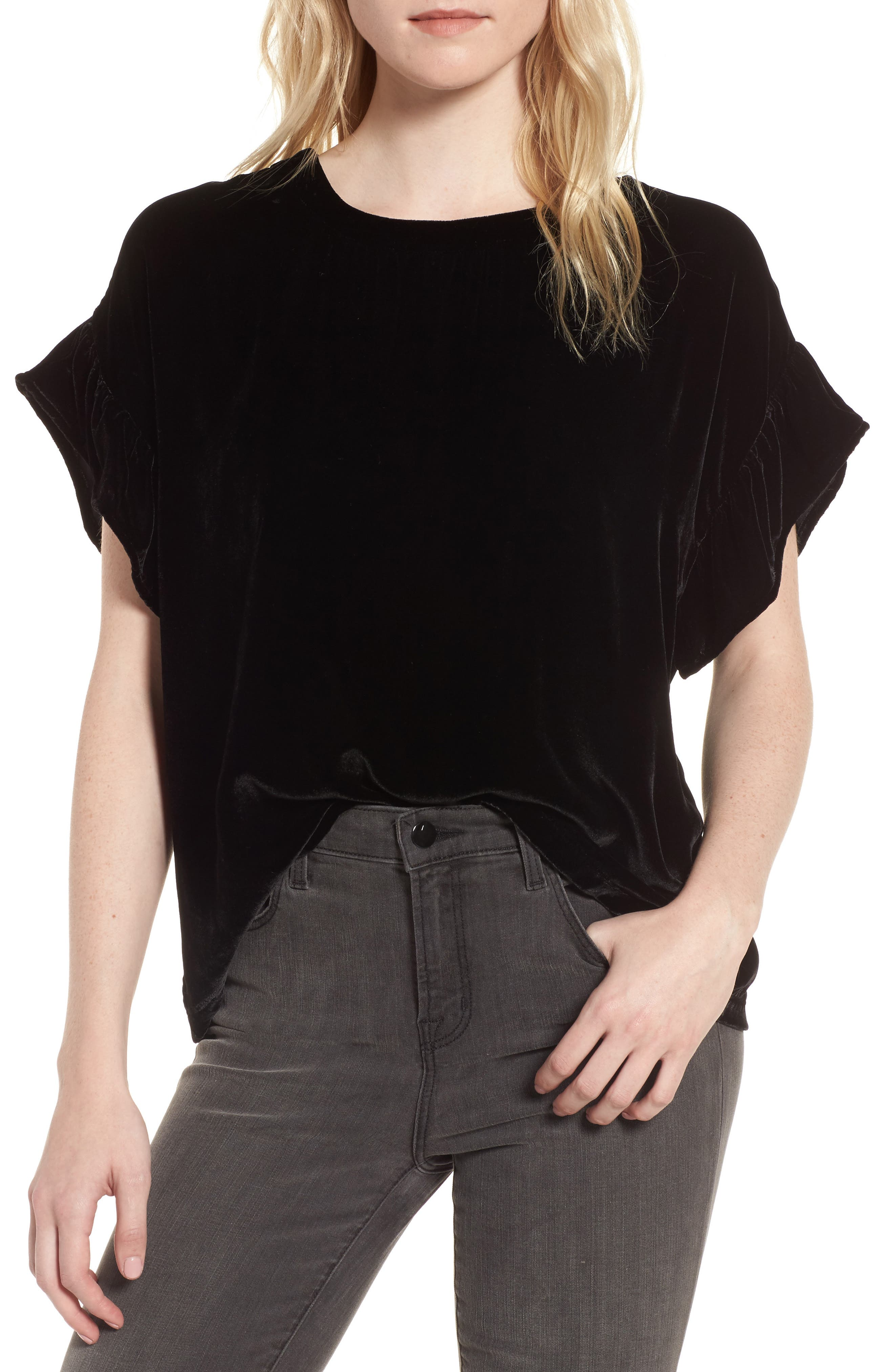 The Janie Velvet Top,                             Main thumbnail 1, color,                             Black Velvet