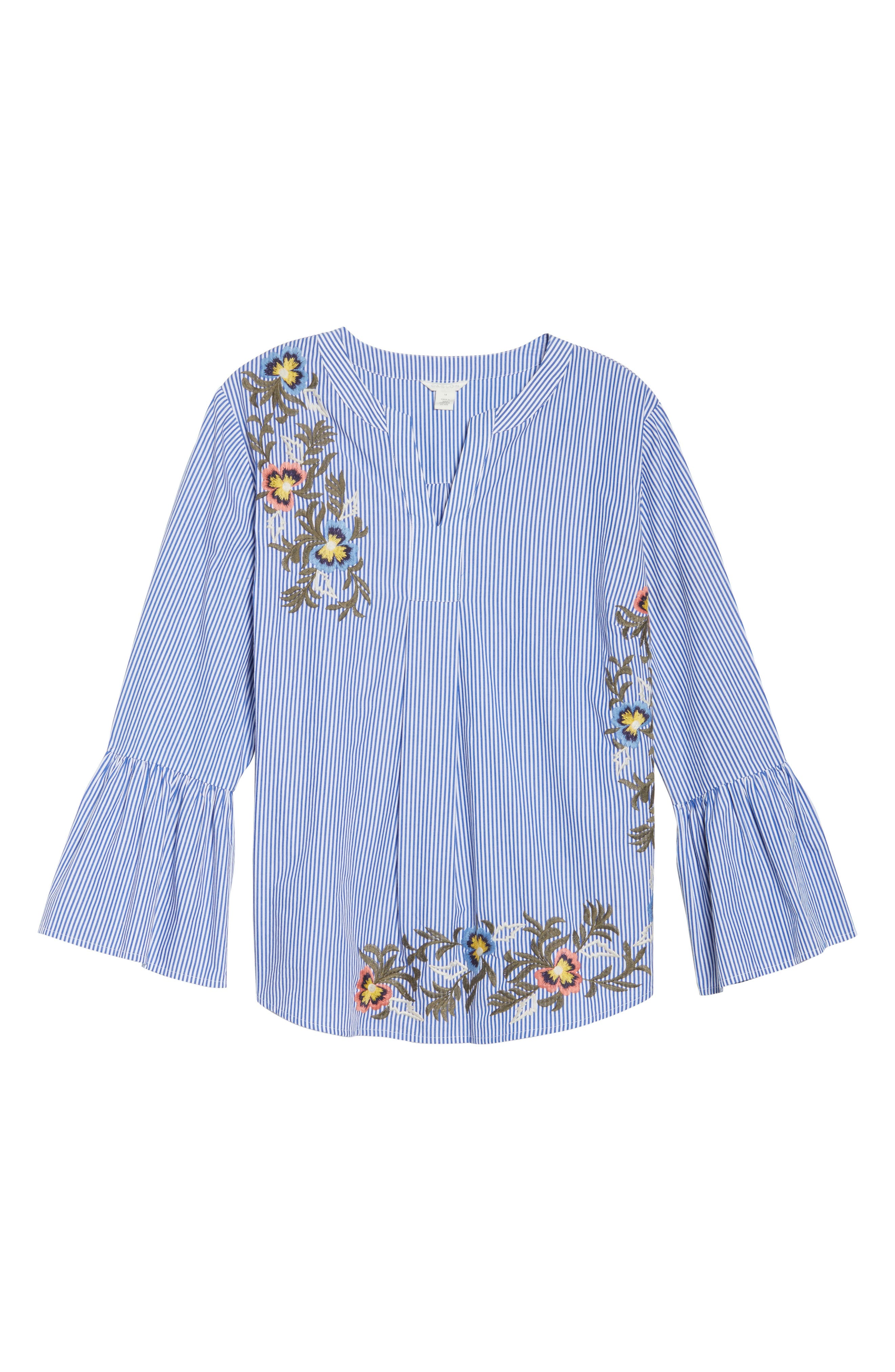 Embroidered Bell Sleeve Top,                             Alternate thumbnail 6, color,                             Blue- White Pattern