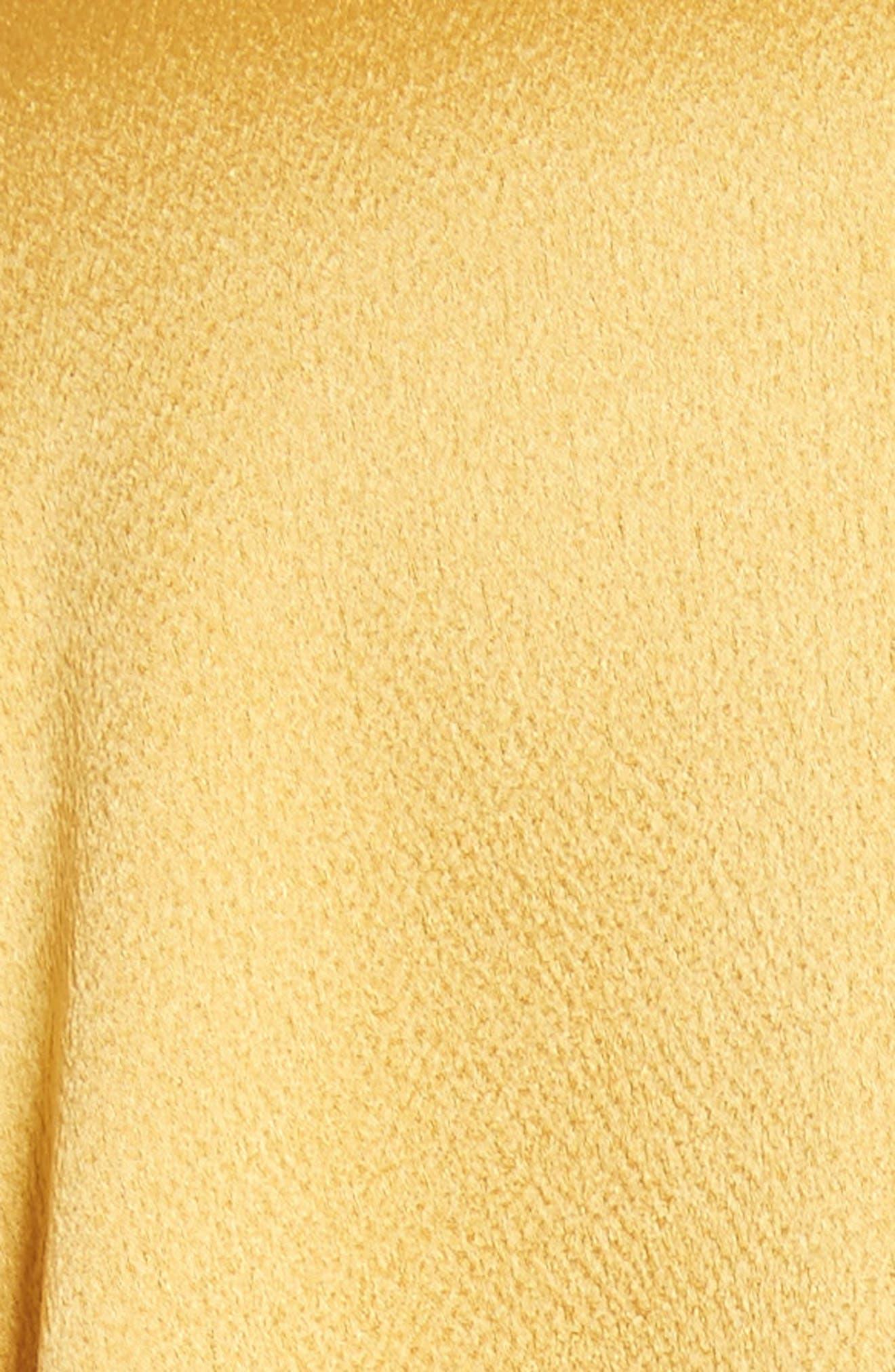 Hammered Satin Midi Dress,                             Alternate thumbnail 5, color,                             Canary Yellow