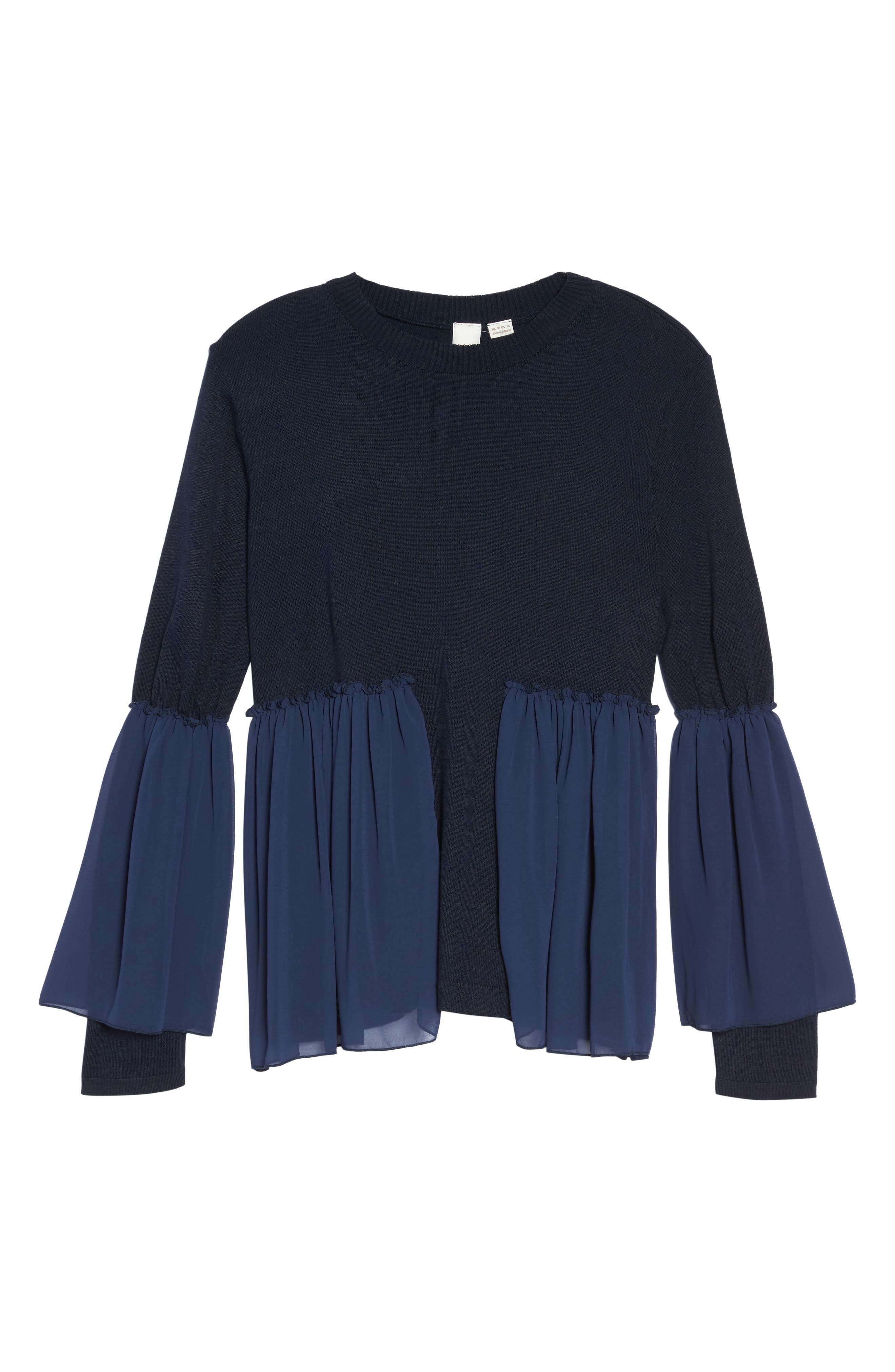 Smocked Chiffon Contrast Sweater,                             Alternate thumbnail 6, color,                             Navy