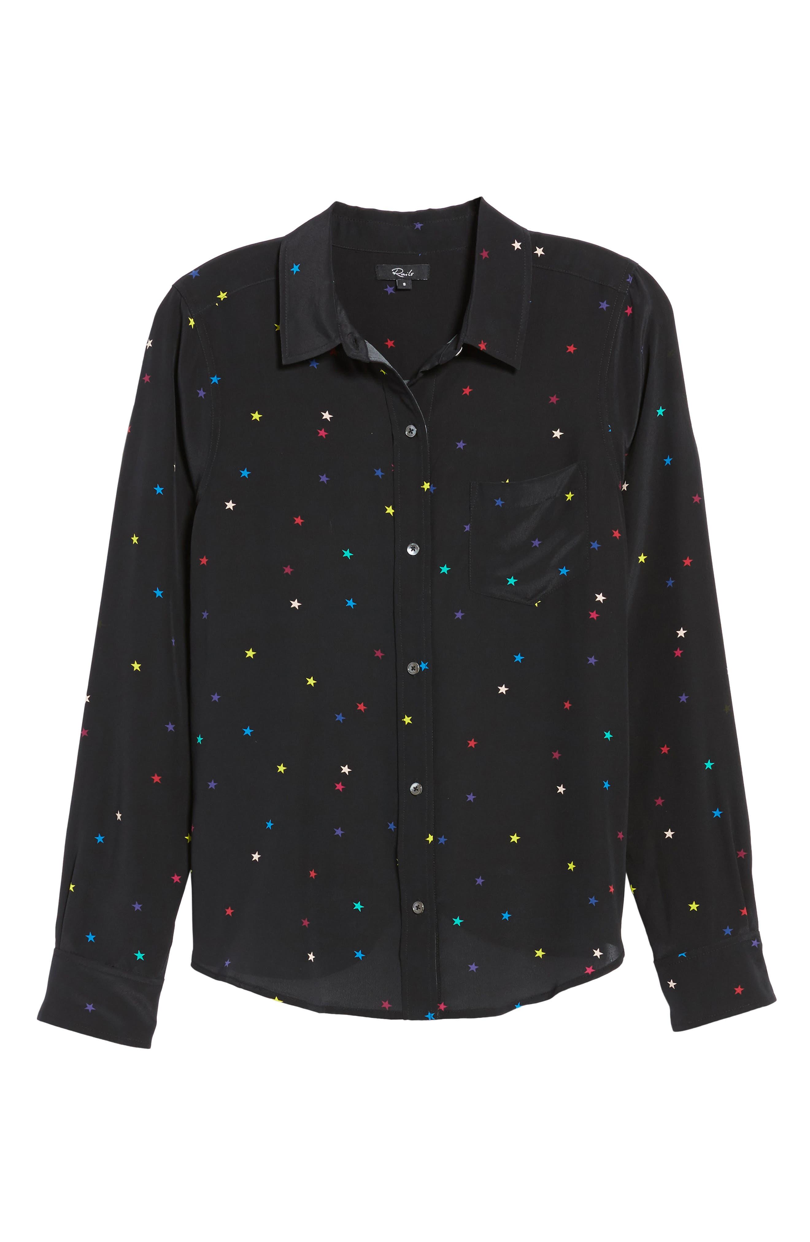 Kate Star Print Silk Blouse,                             Alternate thumbnail 6, color,                             Rainbow Stars/ Black