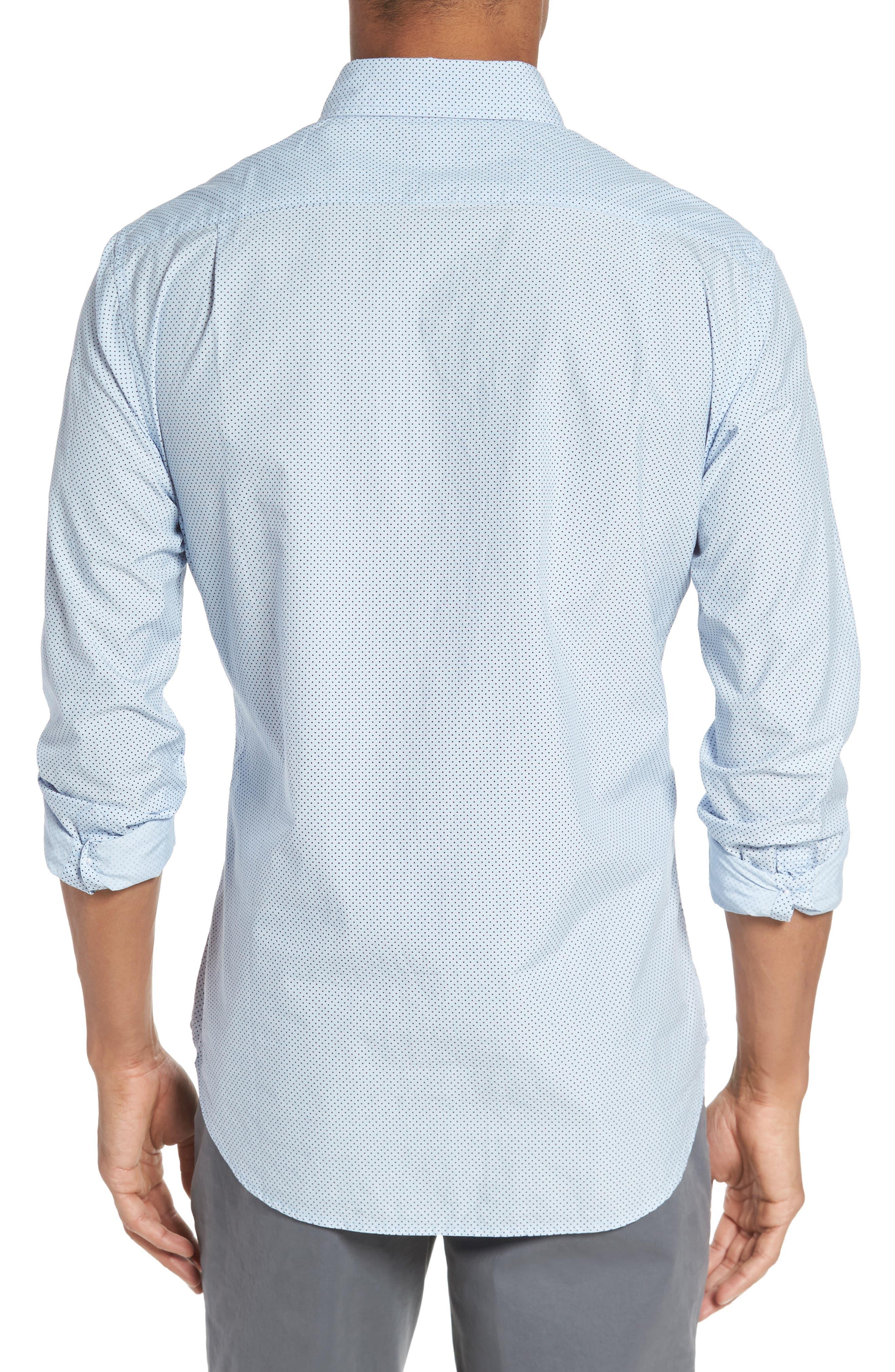 Slim Fit Dot Print Sport Shirt,                             Alternate thumbnail 2, color,                             Cannes Blue Fine Dots