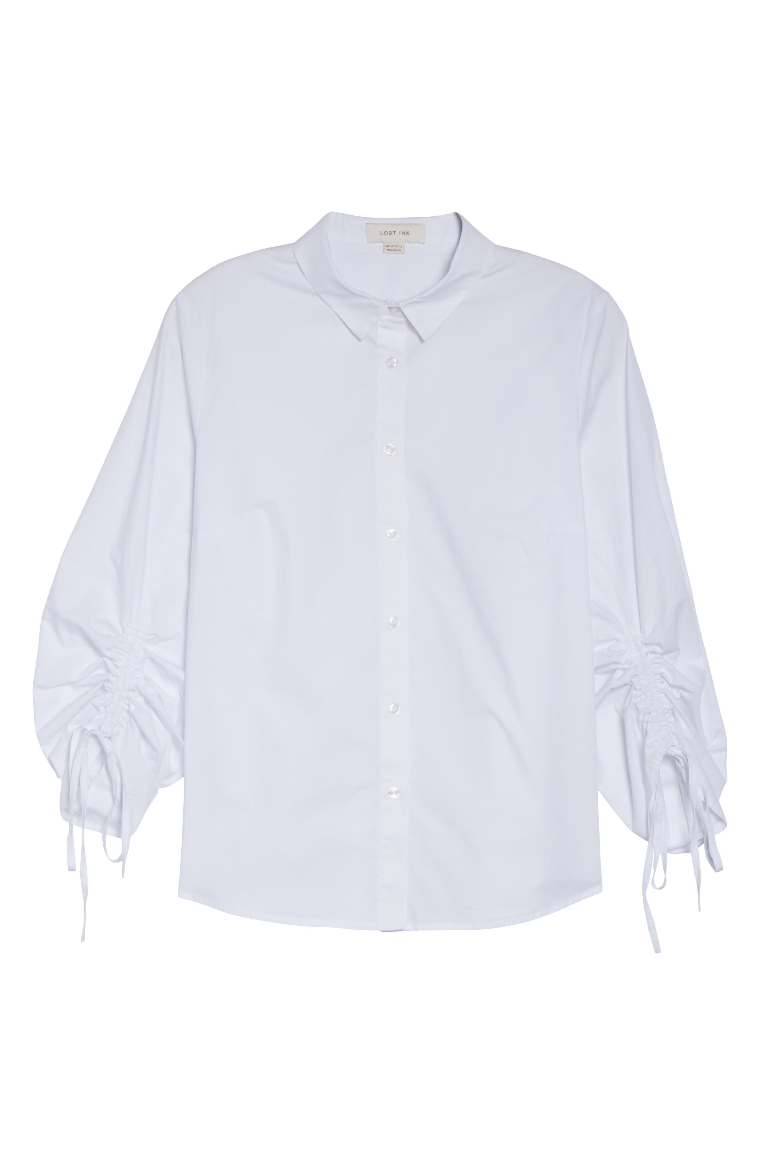 Ruched Sleeve Button-Up Shirt,                             Alternate thumbnail 6, color,                             White