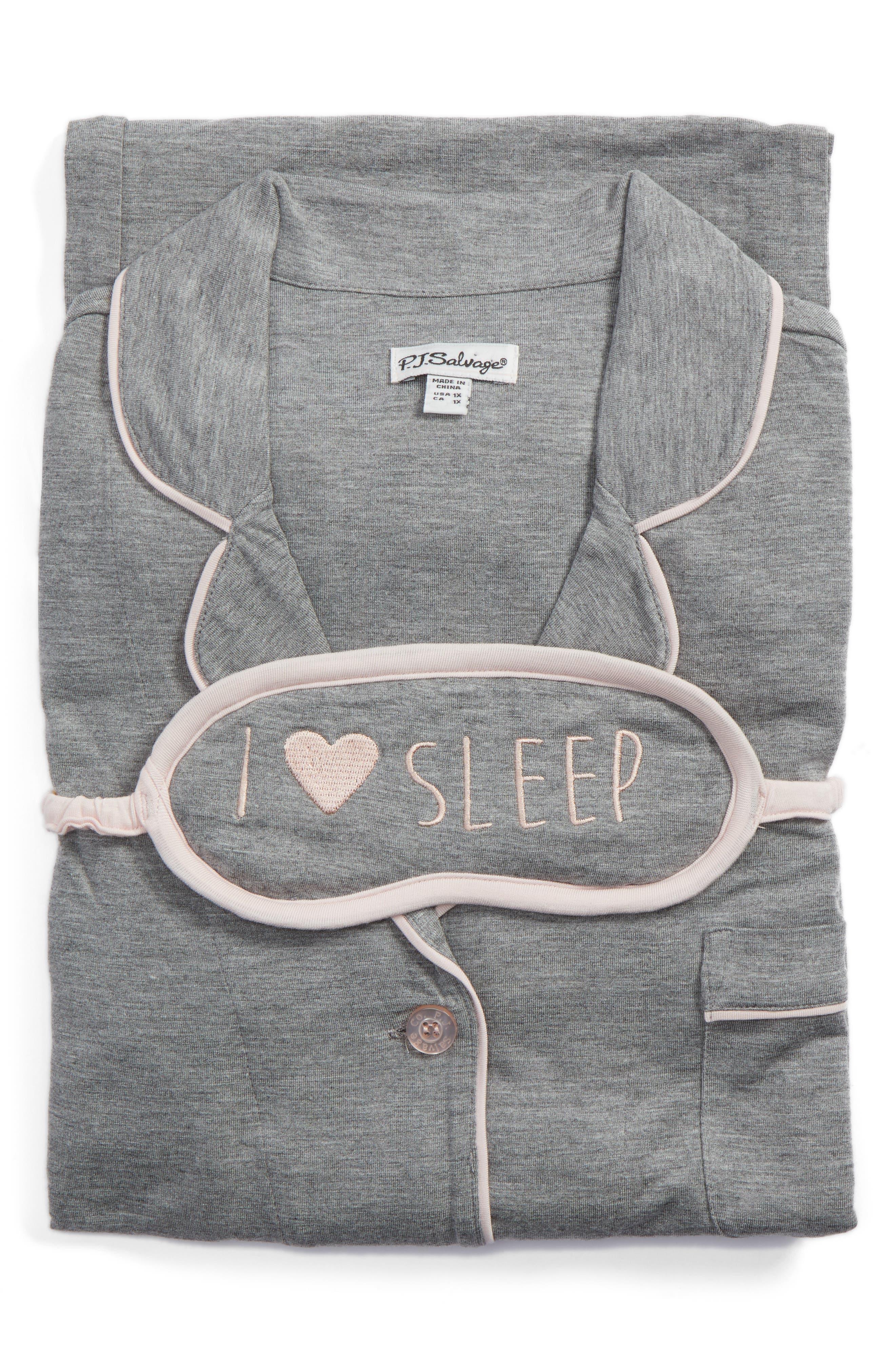 Alternate Image 6  - PJ Salvage Stretch Modal Pajamas & Eye Mask (Plus Size)